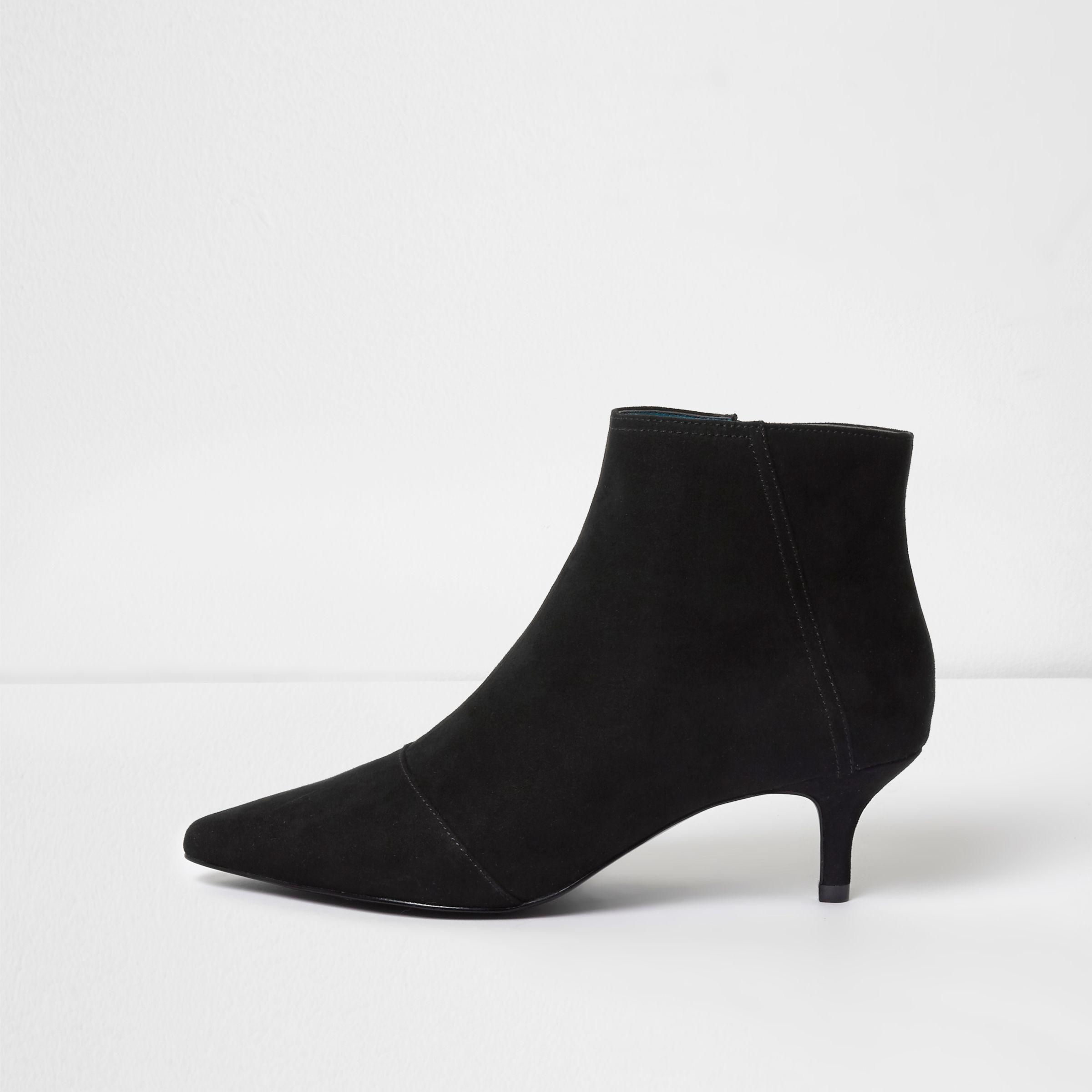 208e3d0cb31e River Island Black Pointed Kitten Heel Boots in Black - Lyst