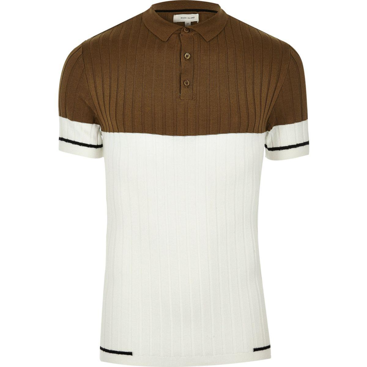 37426c2e75 Source · Lyst River Island Brown Ribbed Block Muscle Fit Polo Shirt in