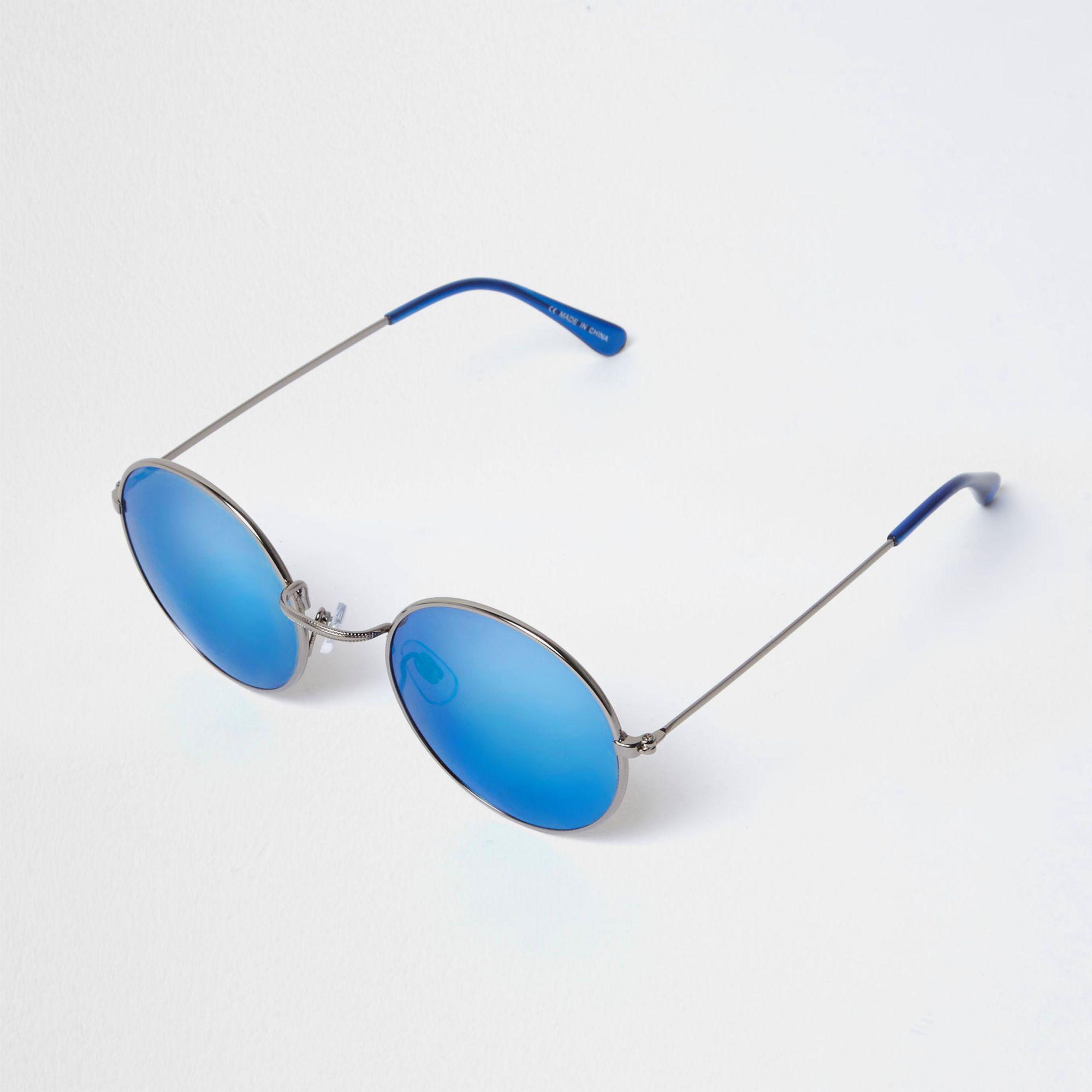 89d1808c80 River Island Circle Lens Blue Mirror Sunglasses in Metallic for Men ...