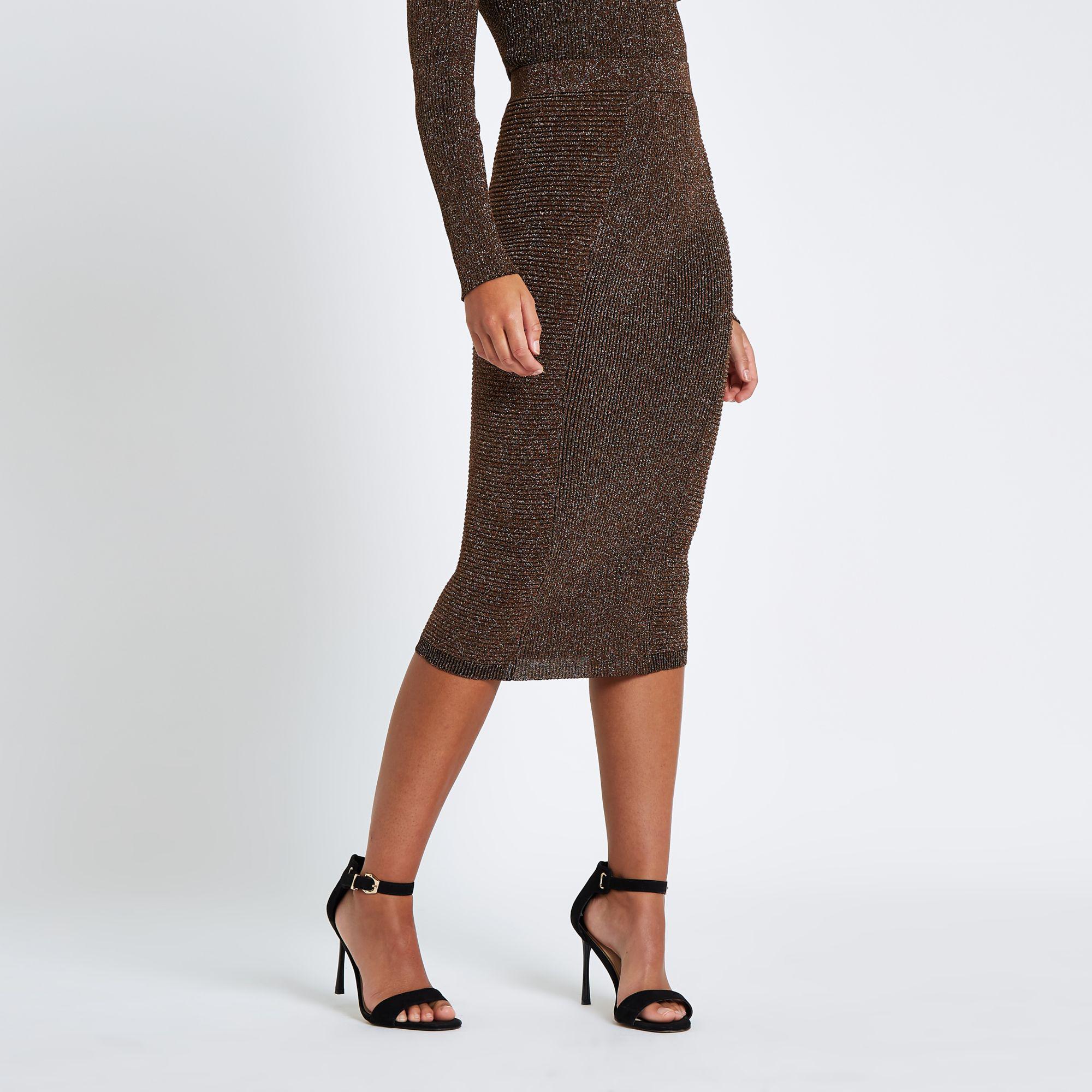 6d9b1c179 River Island Metallic Pencil Skirt in Brown - Lyst