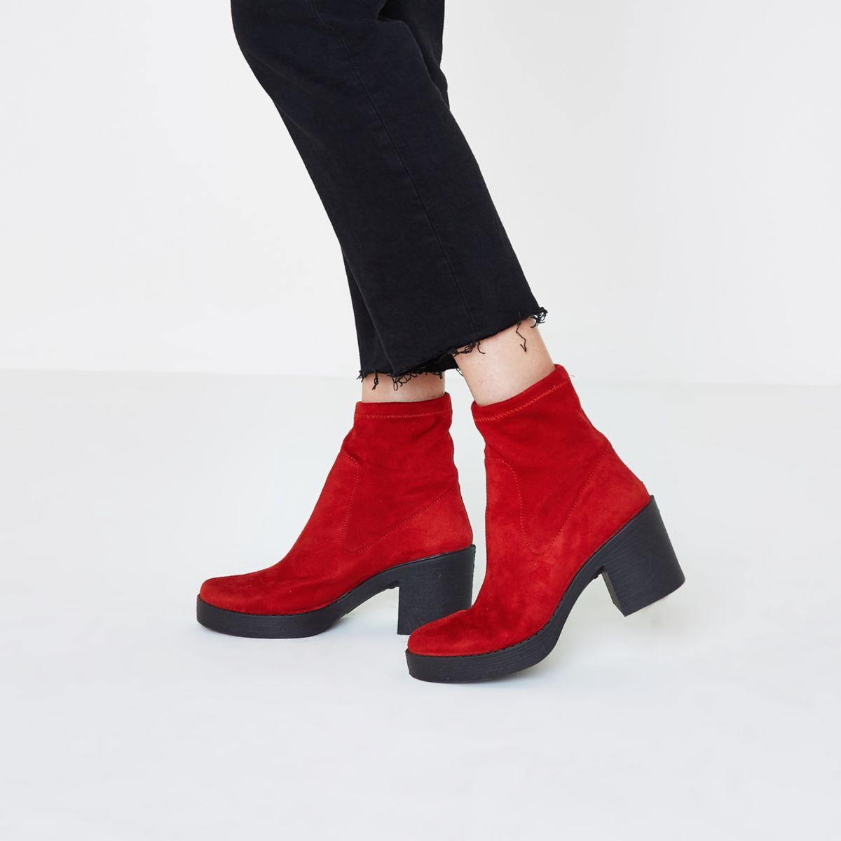 Lyst - River island Red Chunky Block Heel Sock Boots Red Chunky ...
