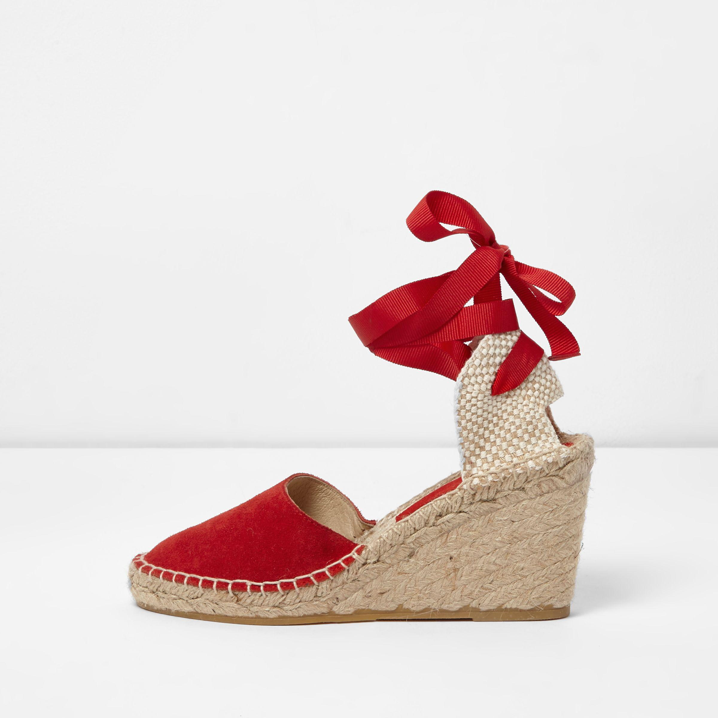 7ccc104367e2 River Island Red Suede Ankle Tie Espadrille Wedges in Red - Lyst