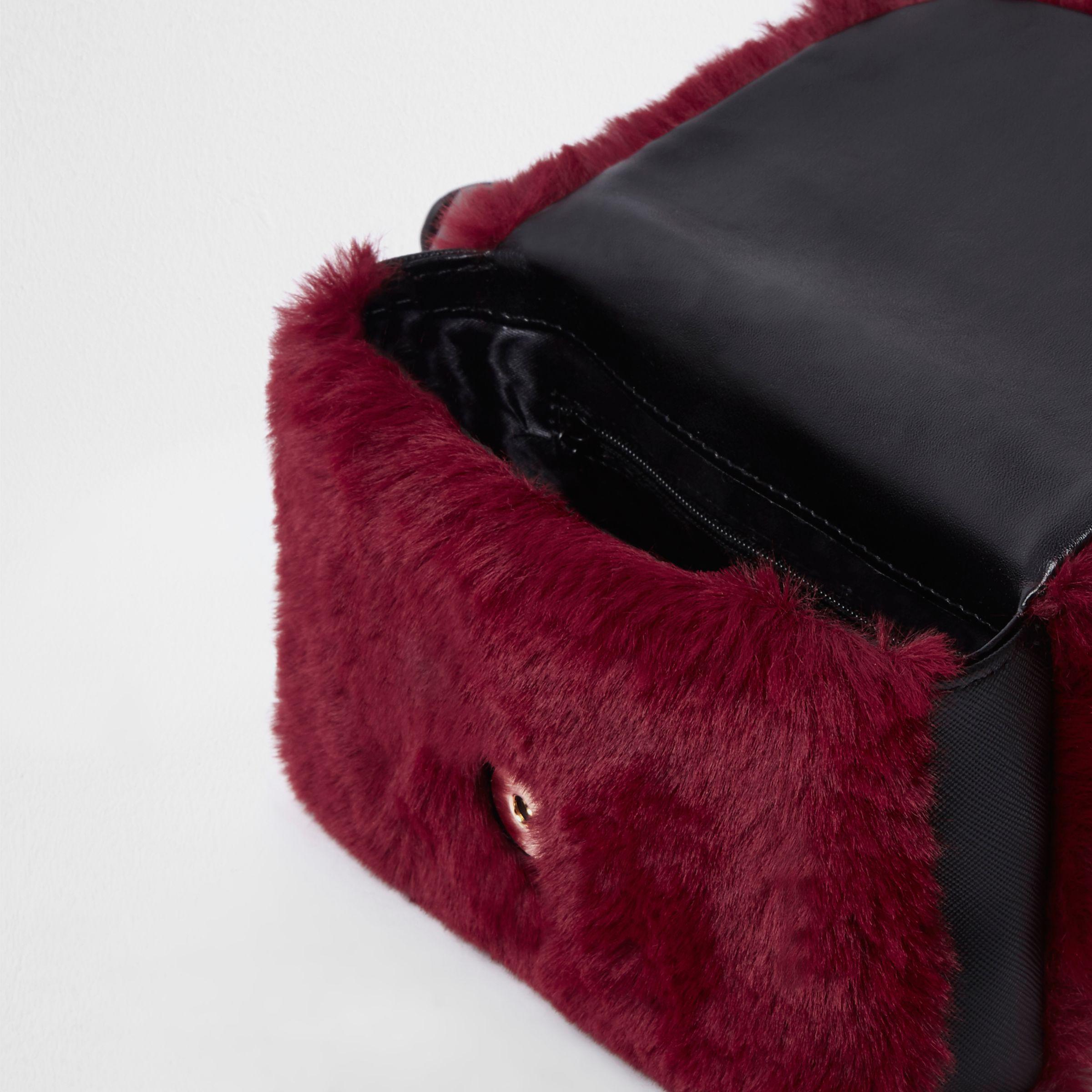 Lyst - River Island Dark Red Faux Fur Buckle Belt Bum Bag in Red 707b371f4a5b5