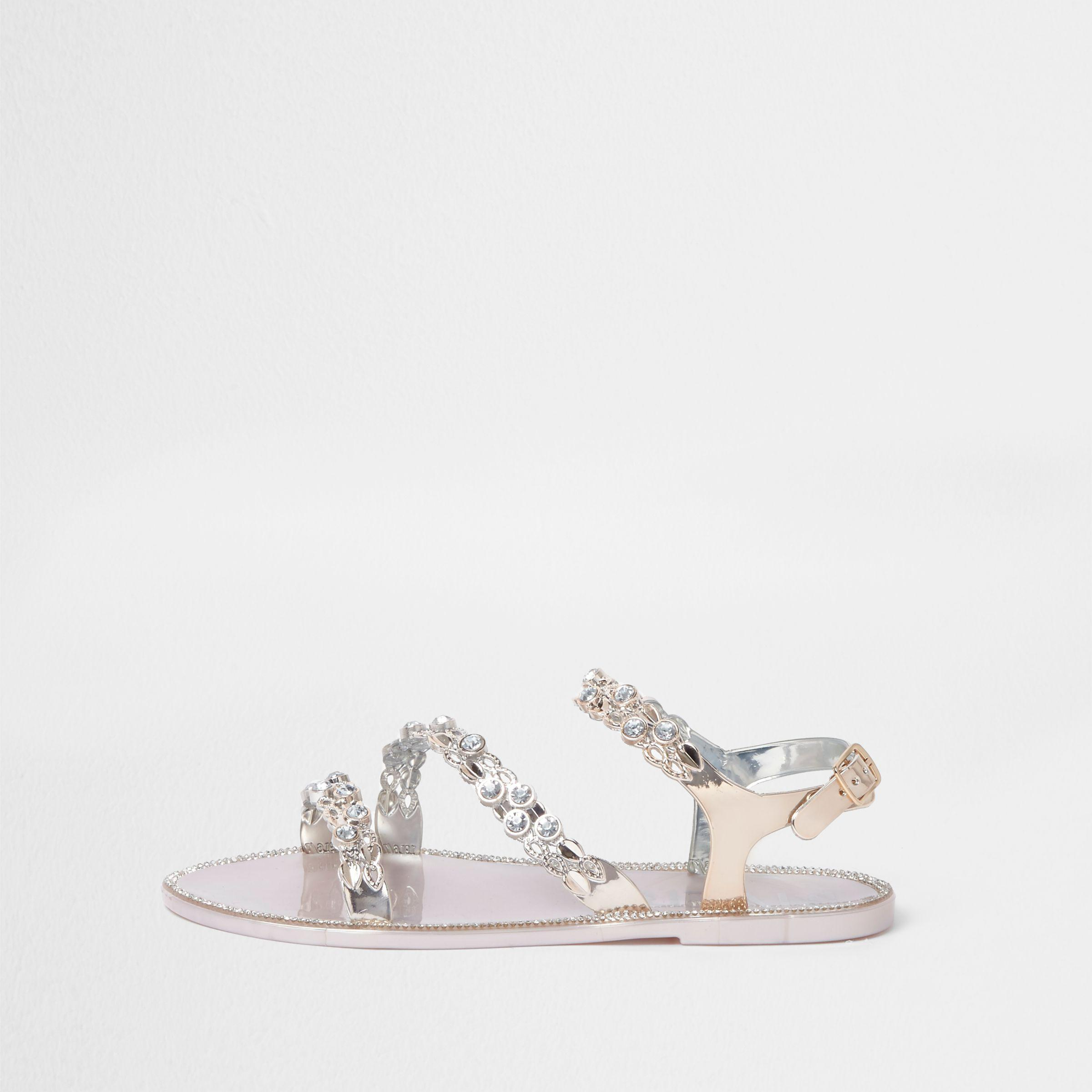aaffbab0af1c River Island Gold Jewel Strap Jelly Sandals in Metallic - Lyst