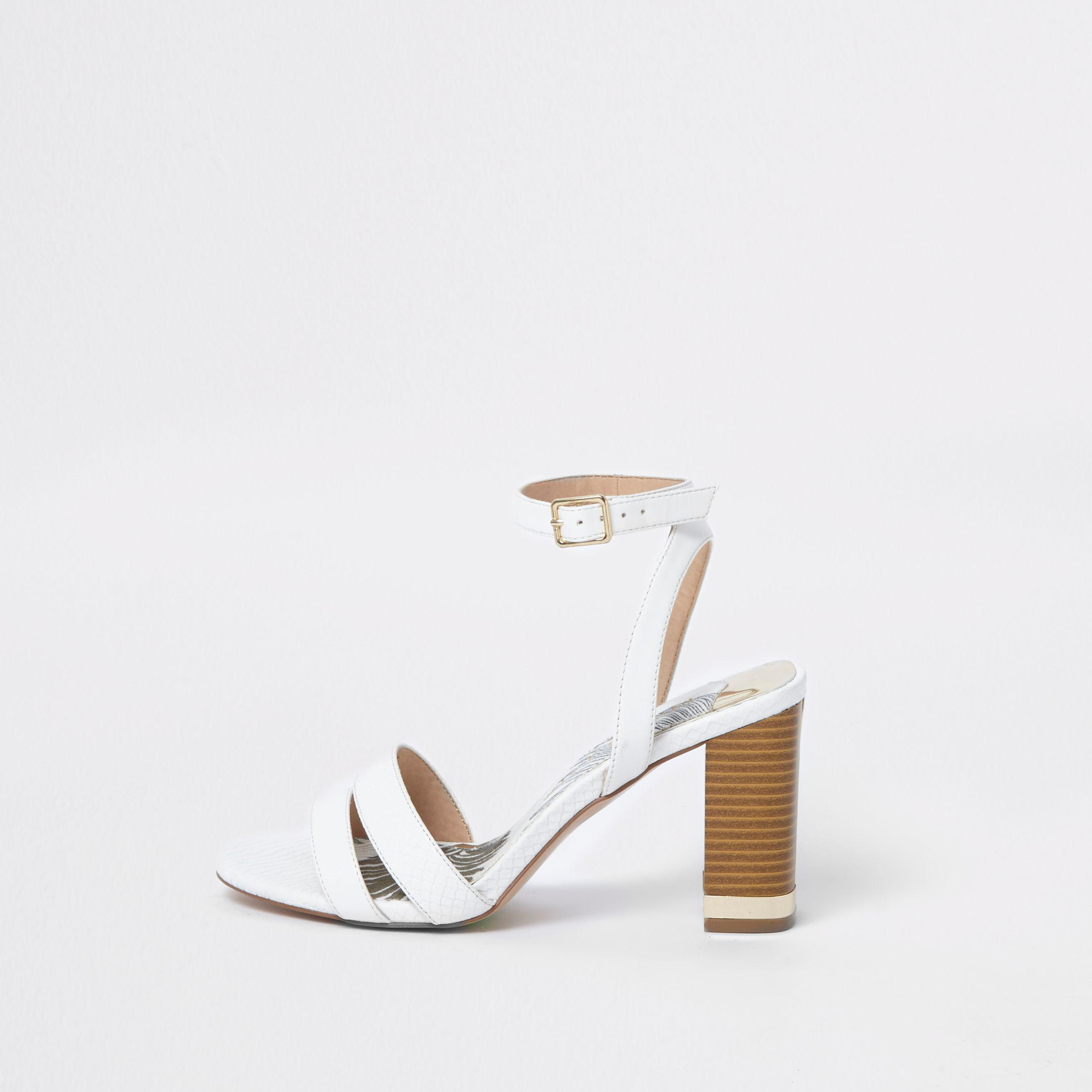 8511cc7b9c1 Lyst - River Island Wide Fit Croc Block Heel Sandals in White