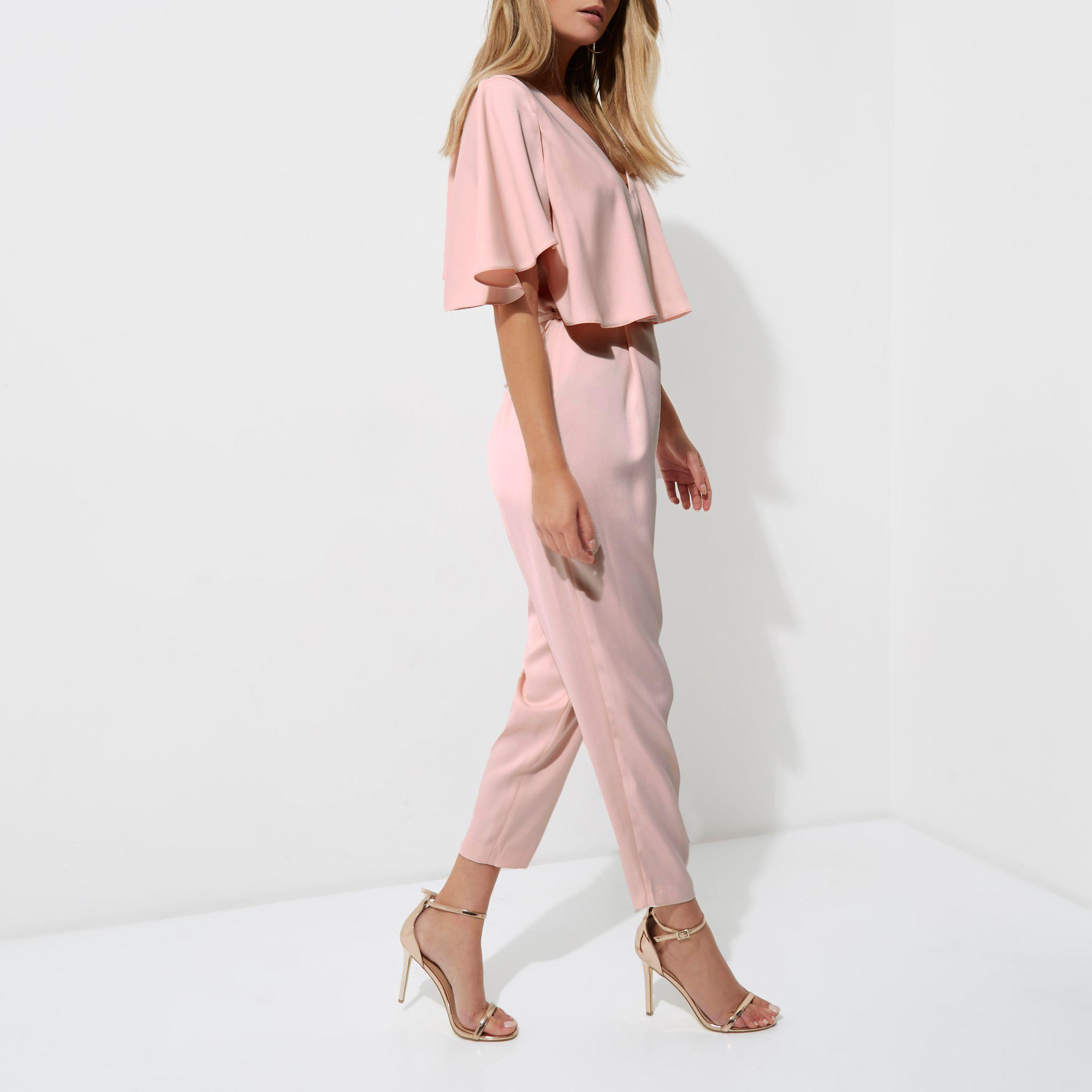 acbcff104135 Lyst - River Island Light Pink Cape Tapered Jumpsuit in Pink