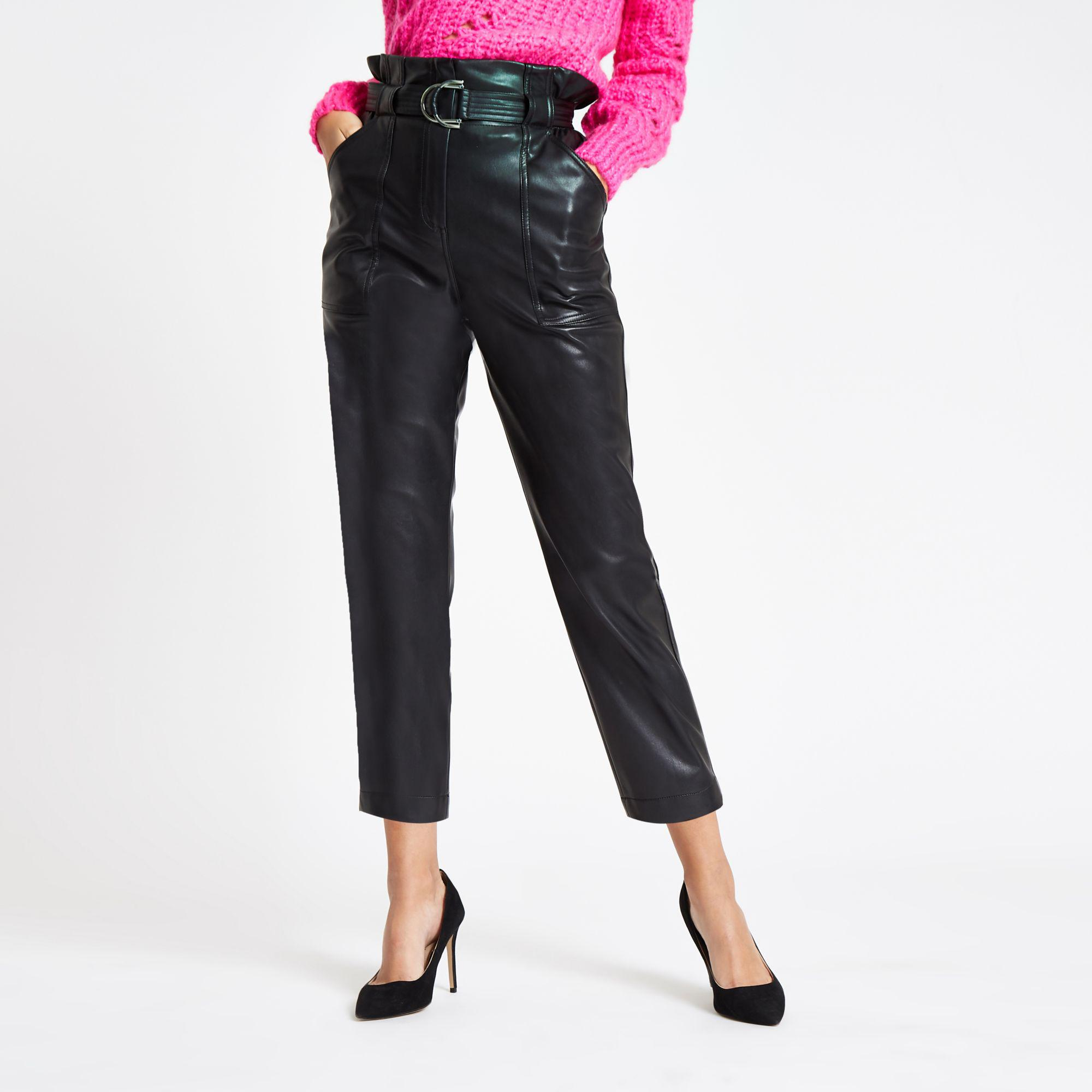 cfb13a0e54003 Lyst - River Island Black Faux Leather Paperbag Waist Trousers in Black