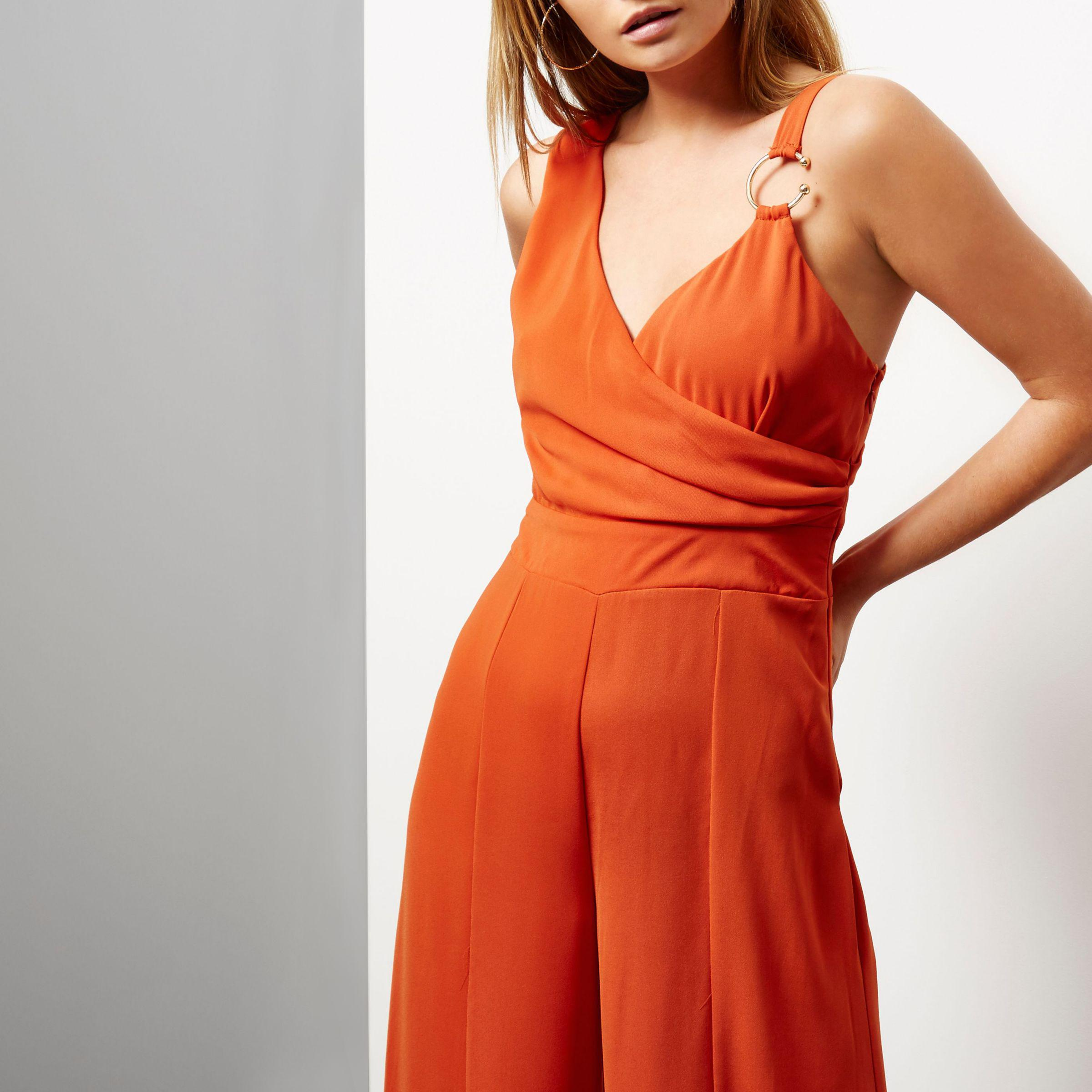 c0a8bba509 Lyst - River Island Orange Draped Wide Leg Jumpsuit in Orange