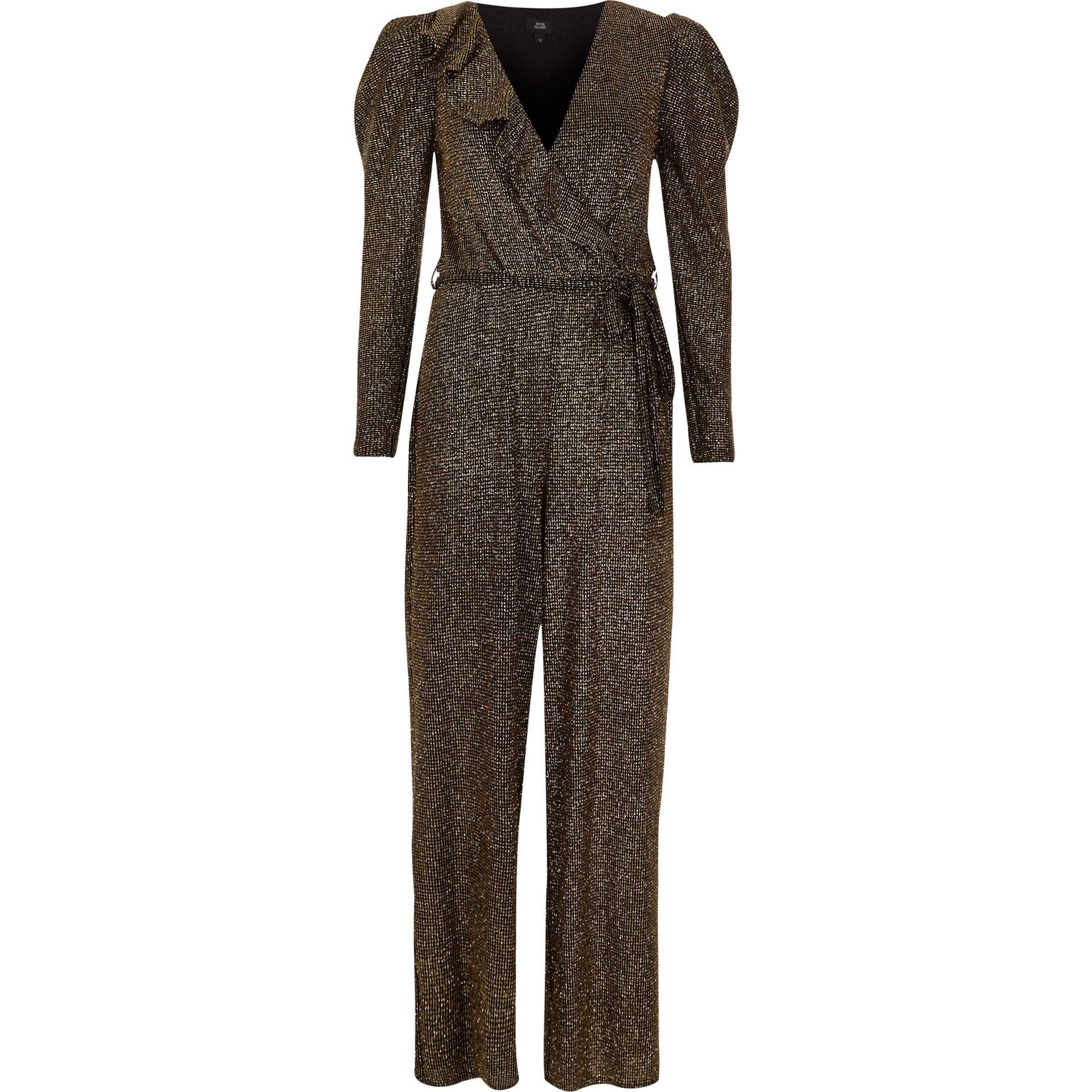 c0bde4dfcc1 River Island Gold Metallic Glitter Frill Wrap Jumpsuit in Black - Lyst
