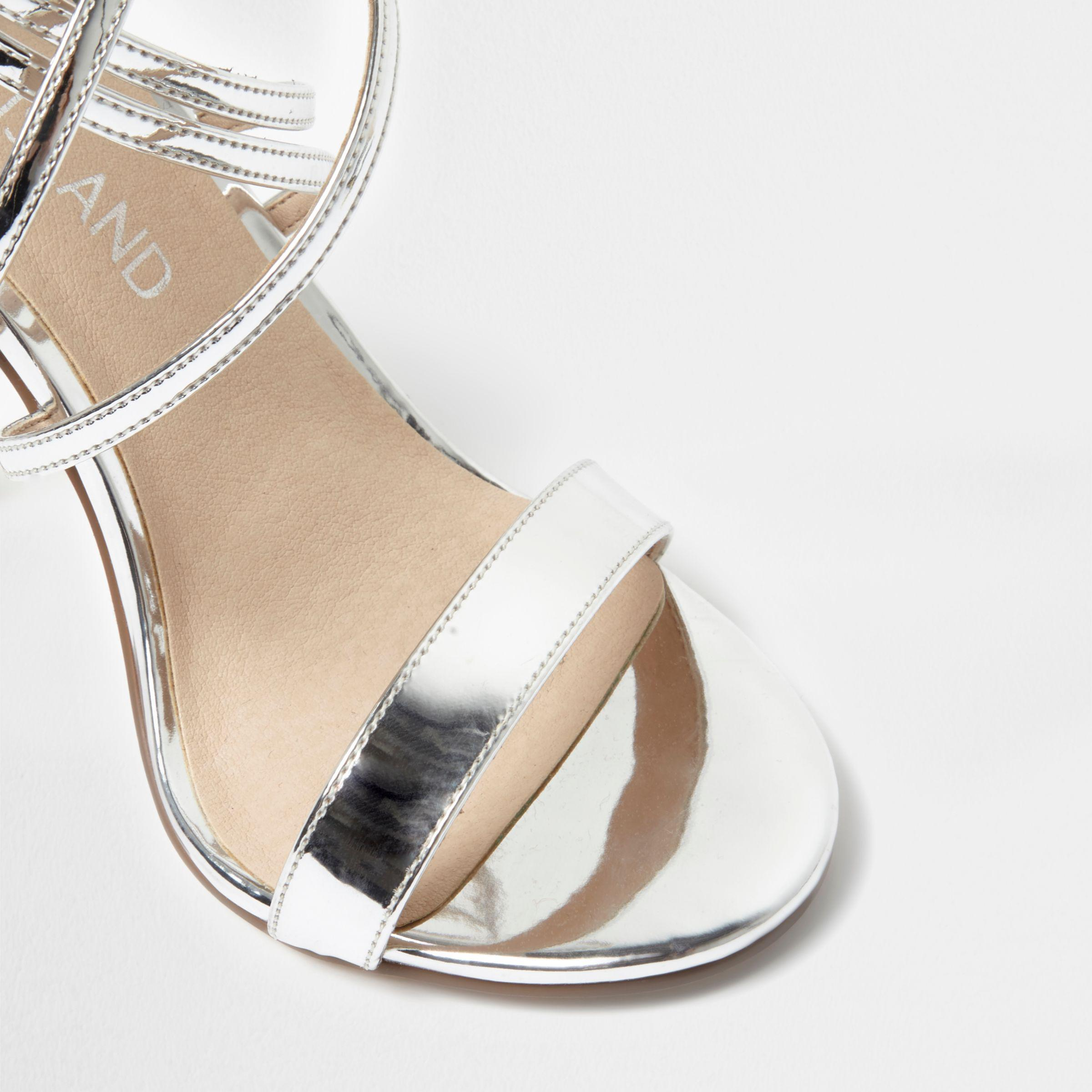 2a3d60acb72d Lyst - River Island Silver Caged Strappy Wide Fit Sandals in Gray