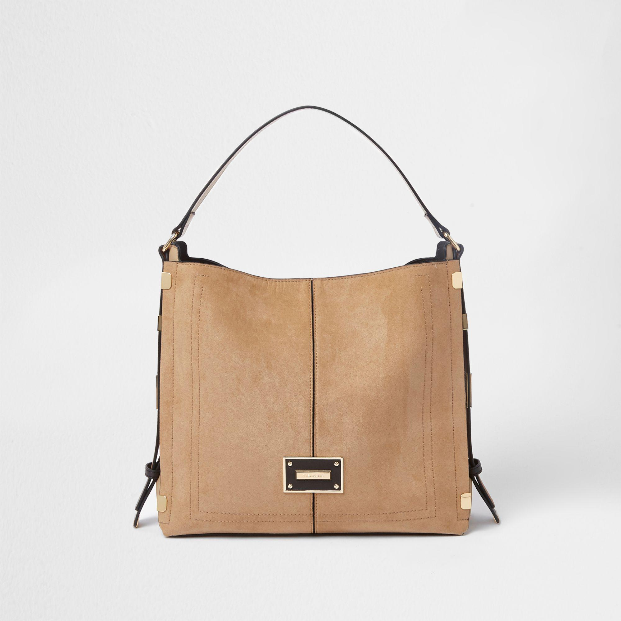 e3b79d658a Lyst - River Island Side Tab Slouch Bag in Natural