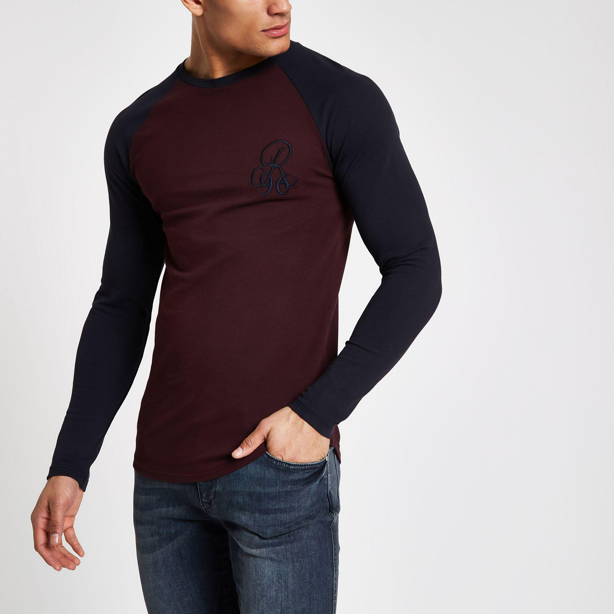 06636ee47541 River Island Dark Red R96 Muscle Fit Long Sleeve T-shirt in Red for ...