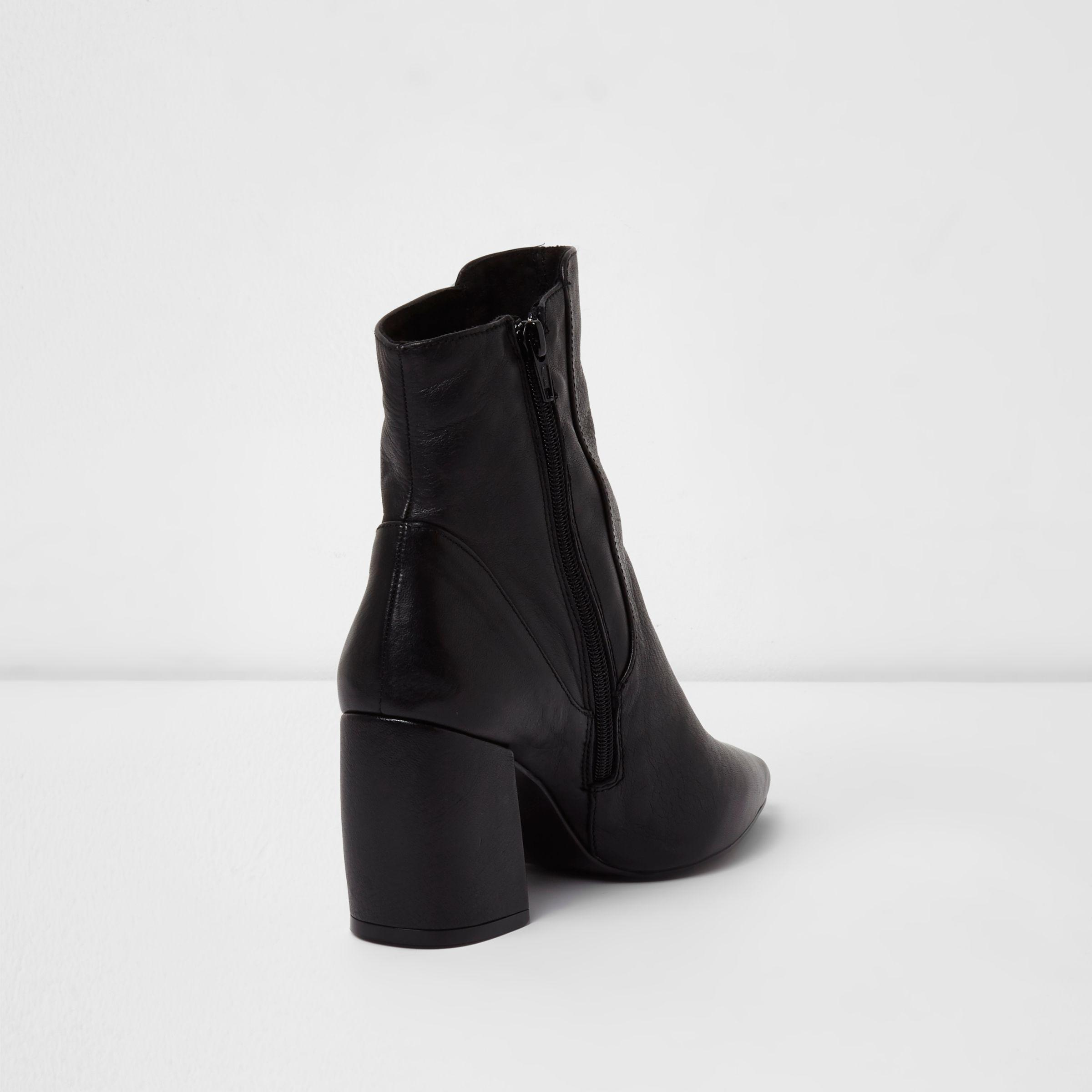 38db594174b6 River Island Black Leather Curved Heel Pointed Ankle Boots in Black ...