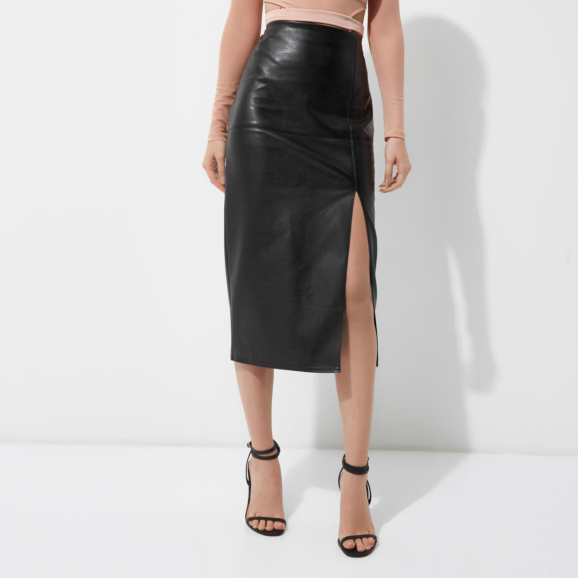 26c5e7e092 River Island Black Faux Leather Side Split Pencil Skirt in Black - Lyst