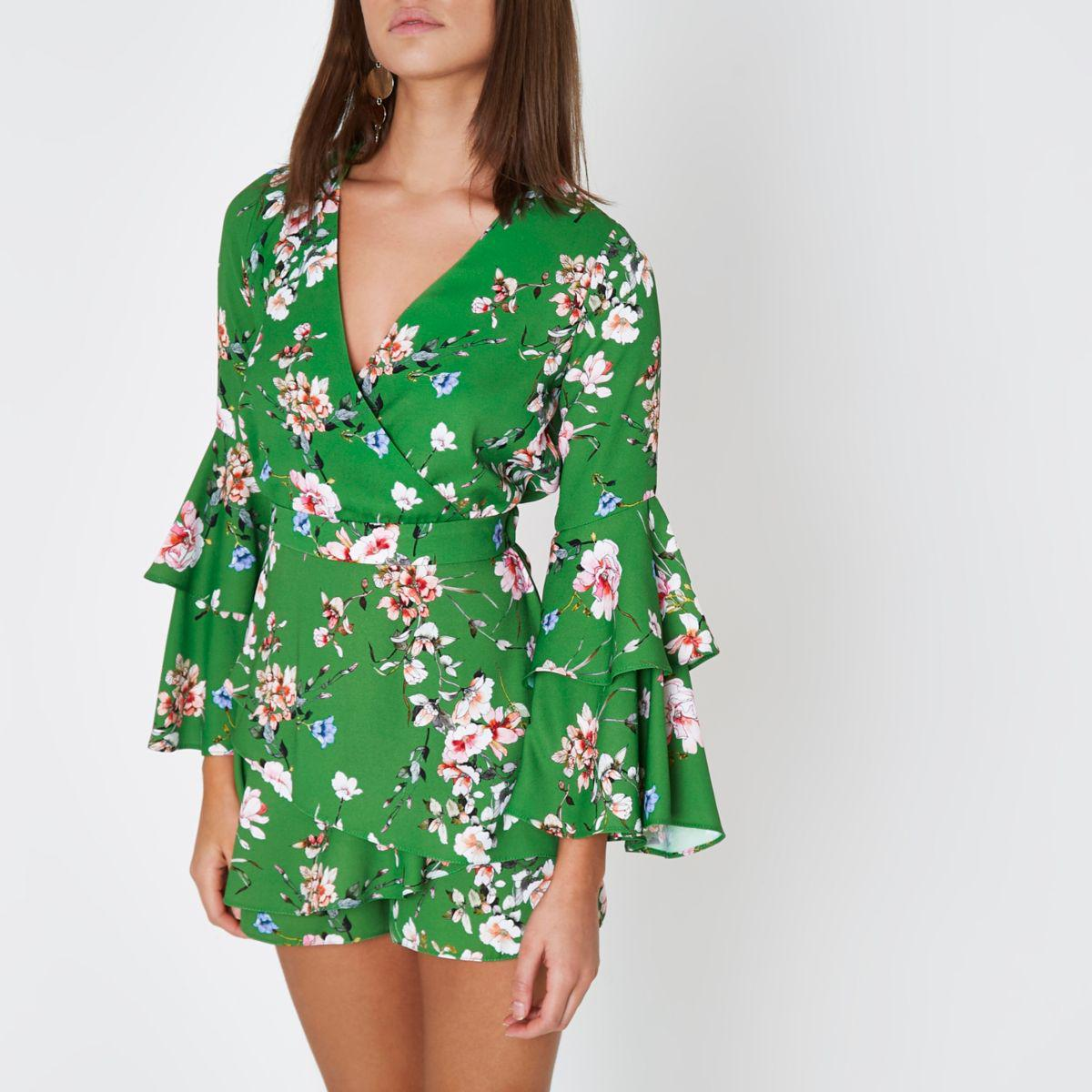 7b0031bf2ae Lyst - River Island Thalia Front Wrap Playsuit in Green