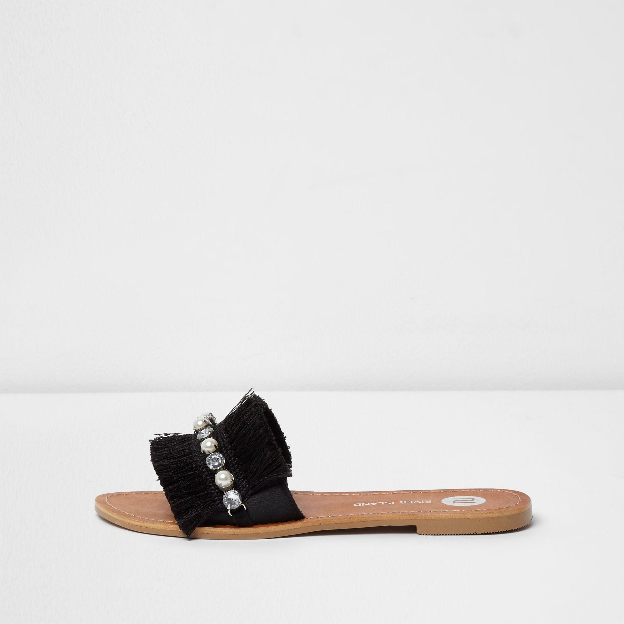 f659bdd2771830 River Island Fringe Embellished Sandals in Black - Lyst