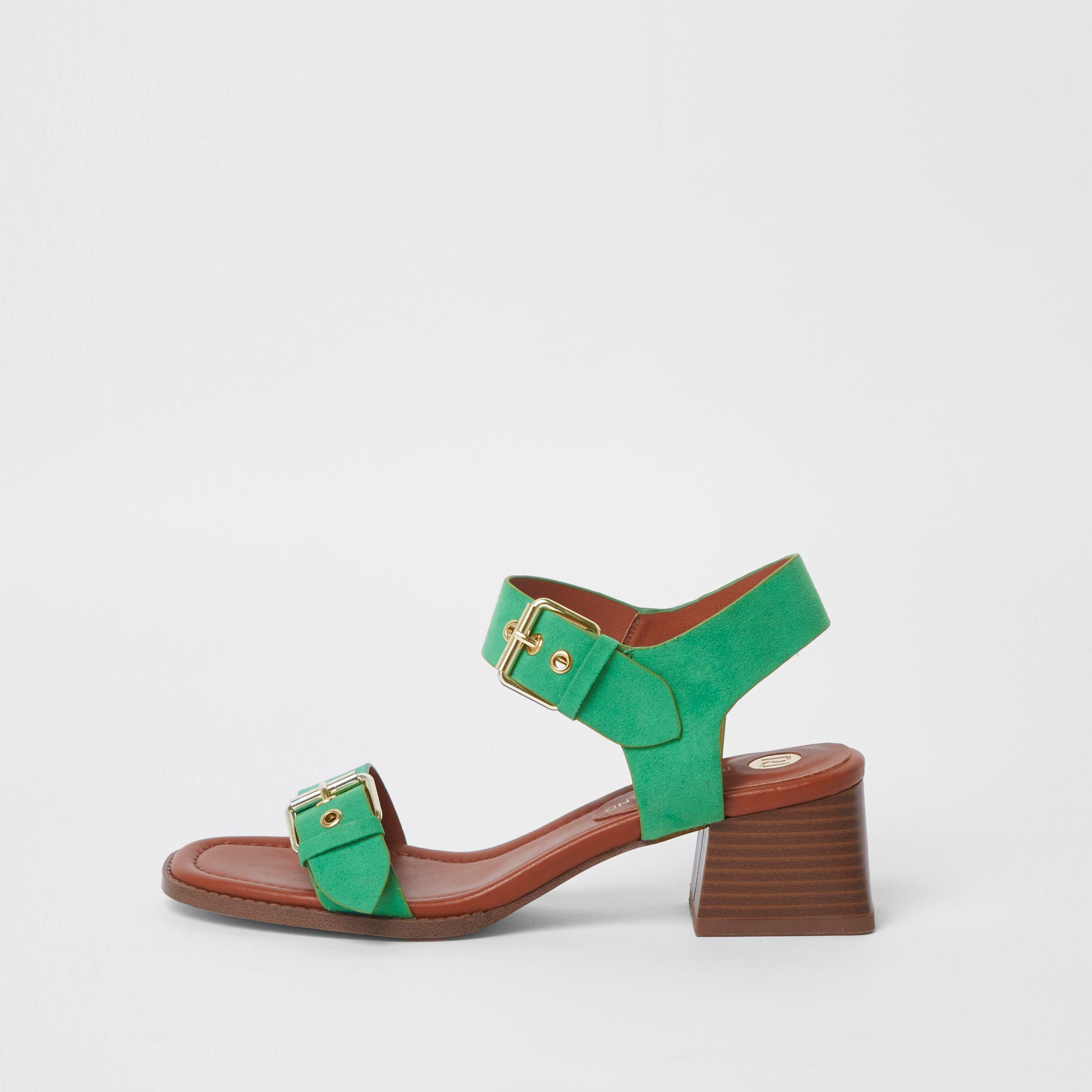 f0caf02432b Lyst - River Island Green Two Part Block Heel Sandals in Green
