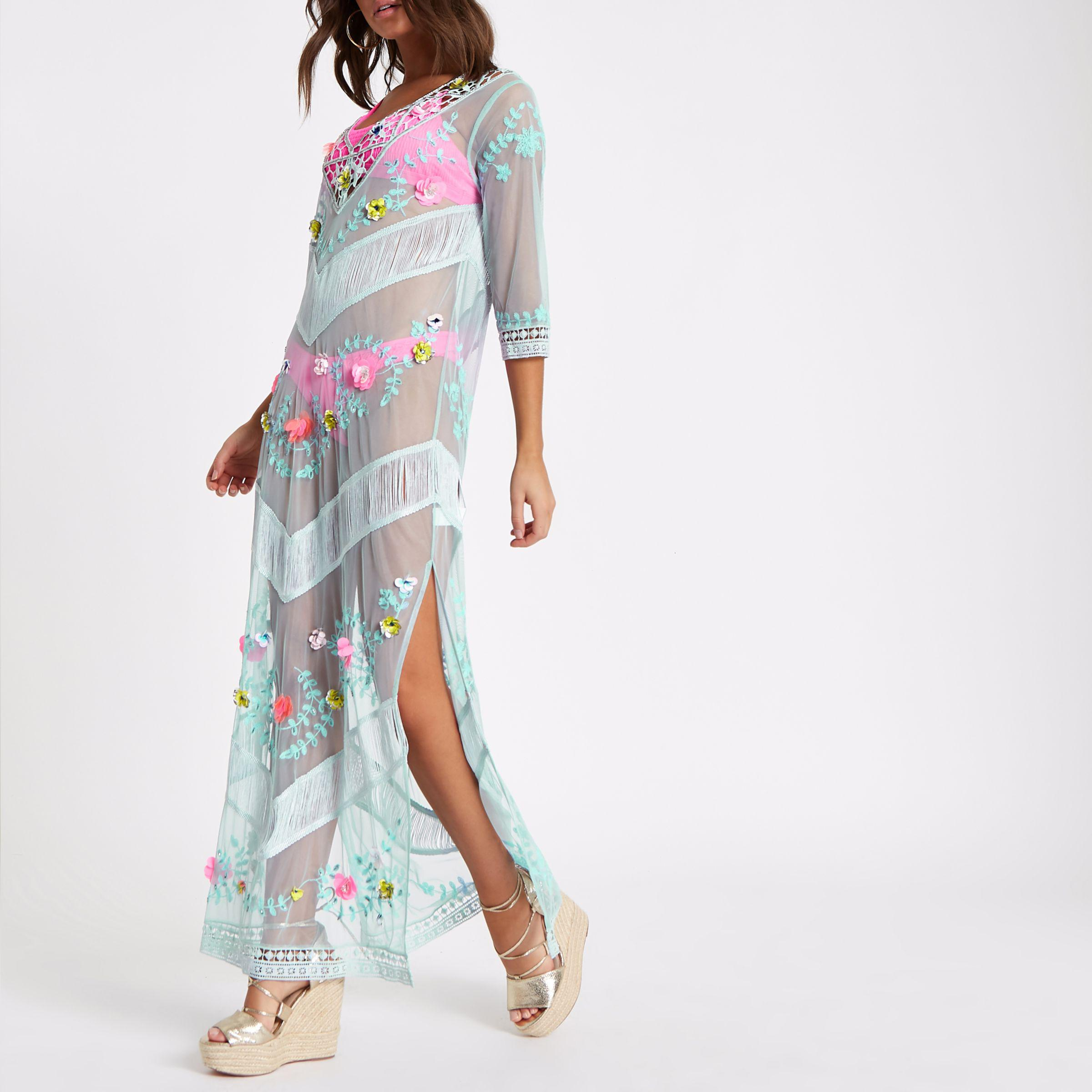 ecfd082815f River Island - Blue Embroidered Lace Maxi Beach Cover Up - Lyst