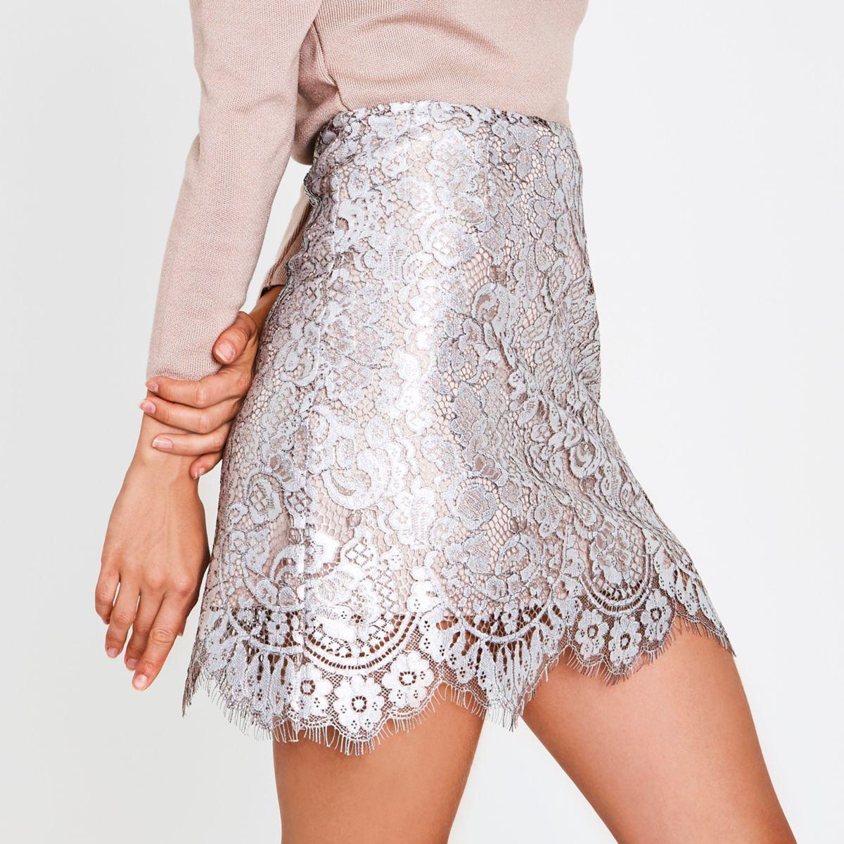 River Island White Lace Mini Skirt