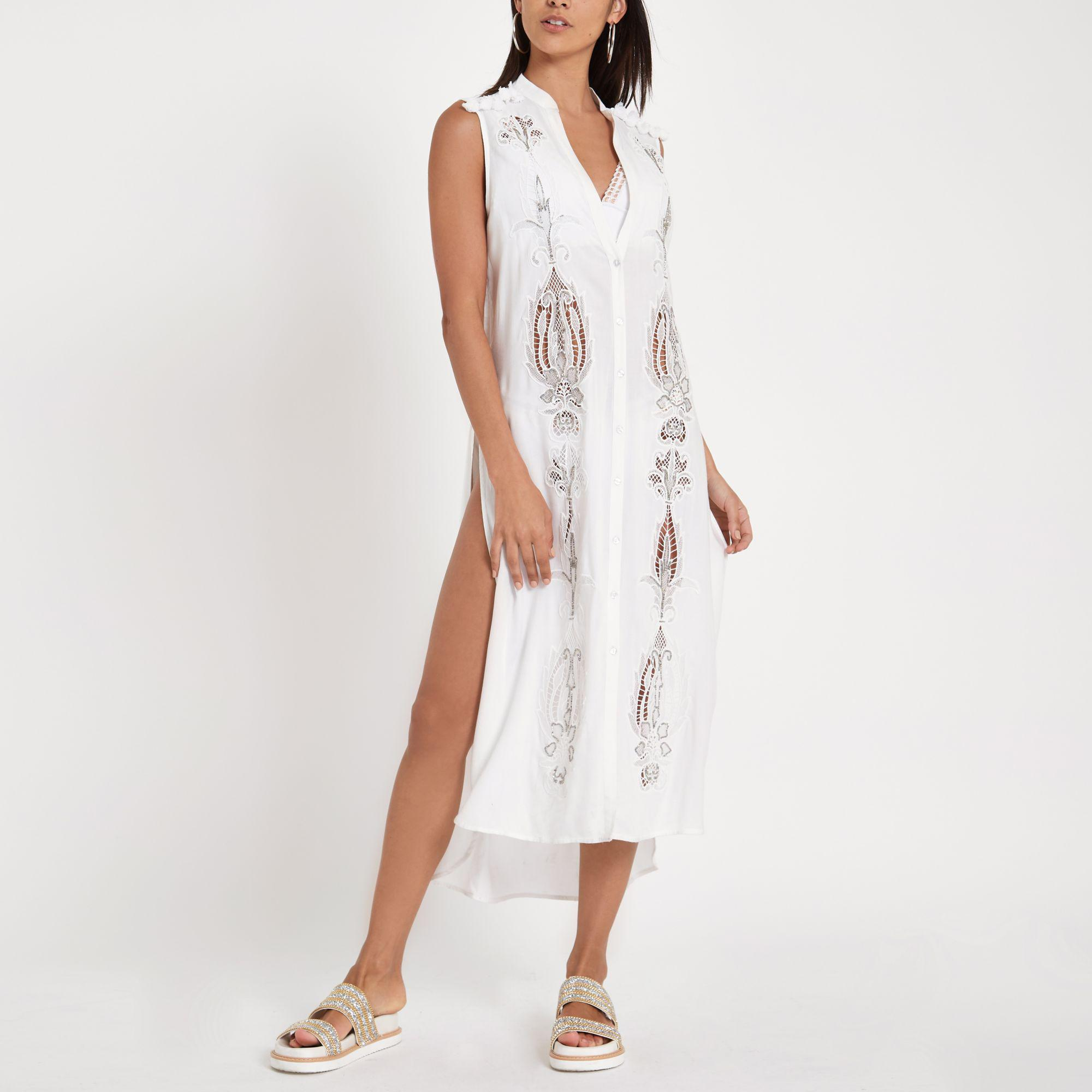 d4bb16ca66343 Lyst - River Island Embroidered Maxi Beach Shirt Dress in White