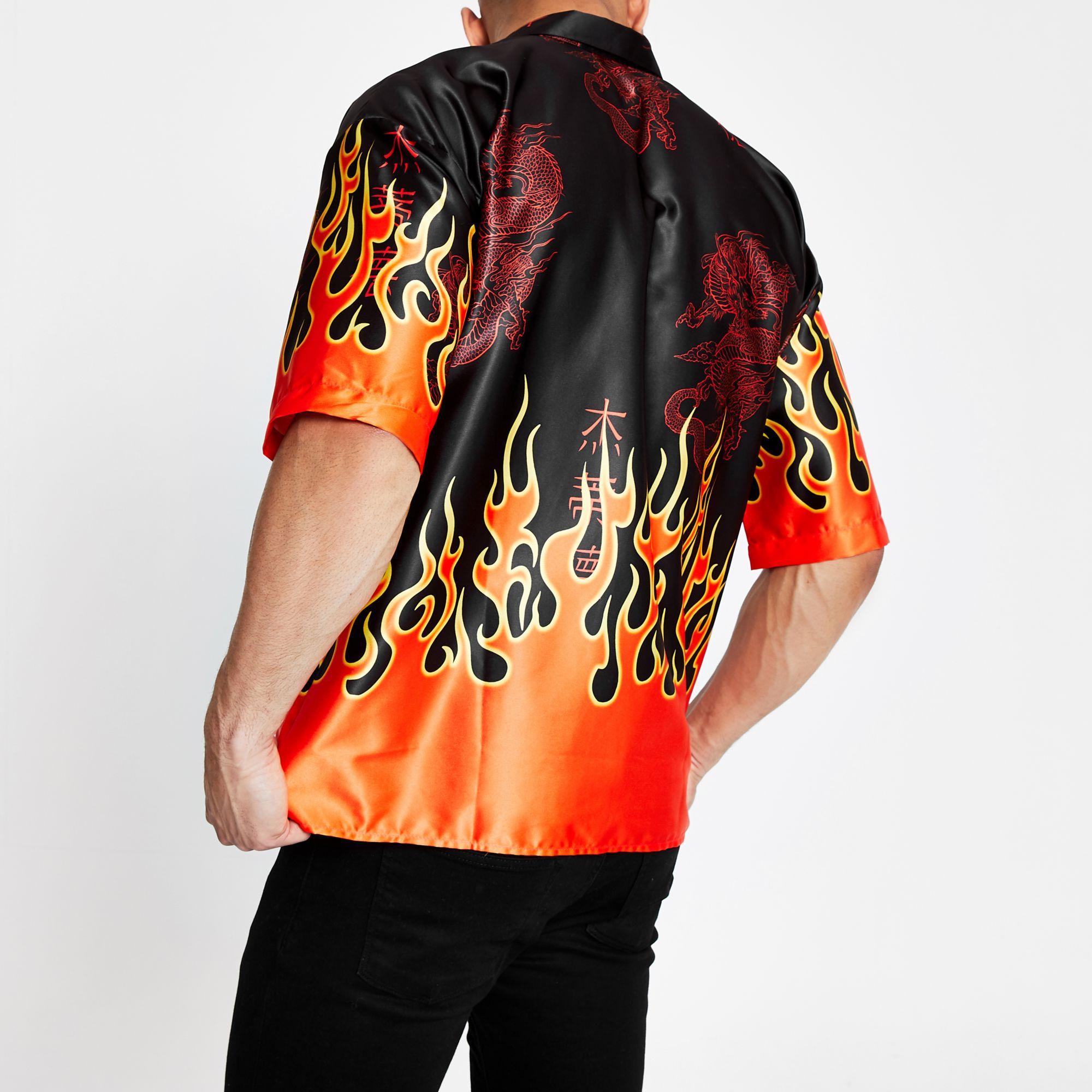 1340436ce42 River Island - Jaded London Black Flame Short Sleeve Shirt for Men - Lyst.  View fullscreen