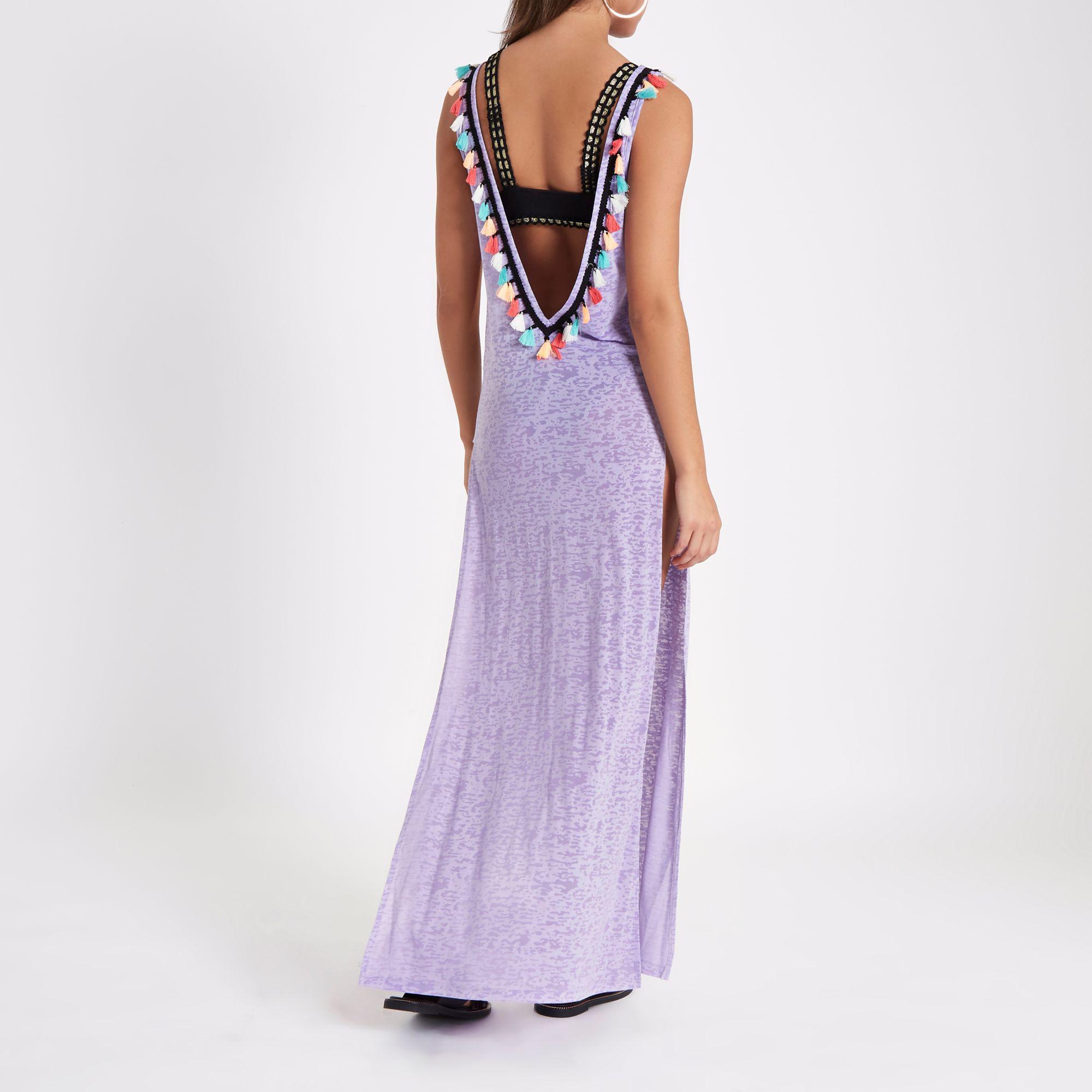 af6f06b0c000f River Island Light Purple Tassel Cut Out Maxi Beach Dress in Purple ...