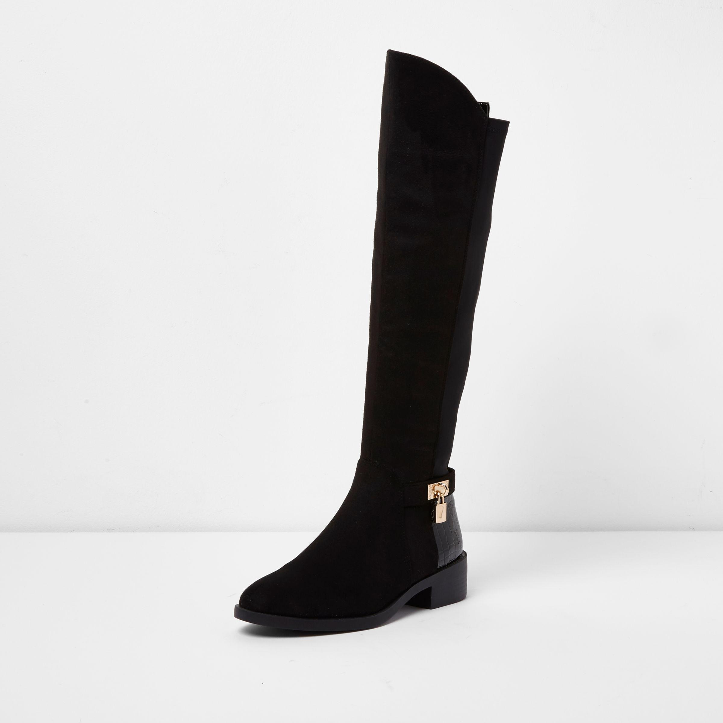 a8f881e8c18 River Island Black Wide Fit Knee High Riding Boots in Black - Lyst