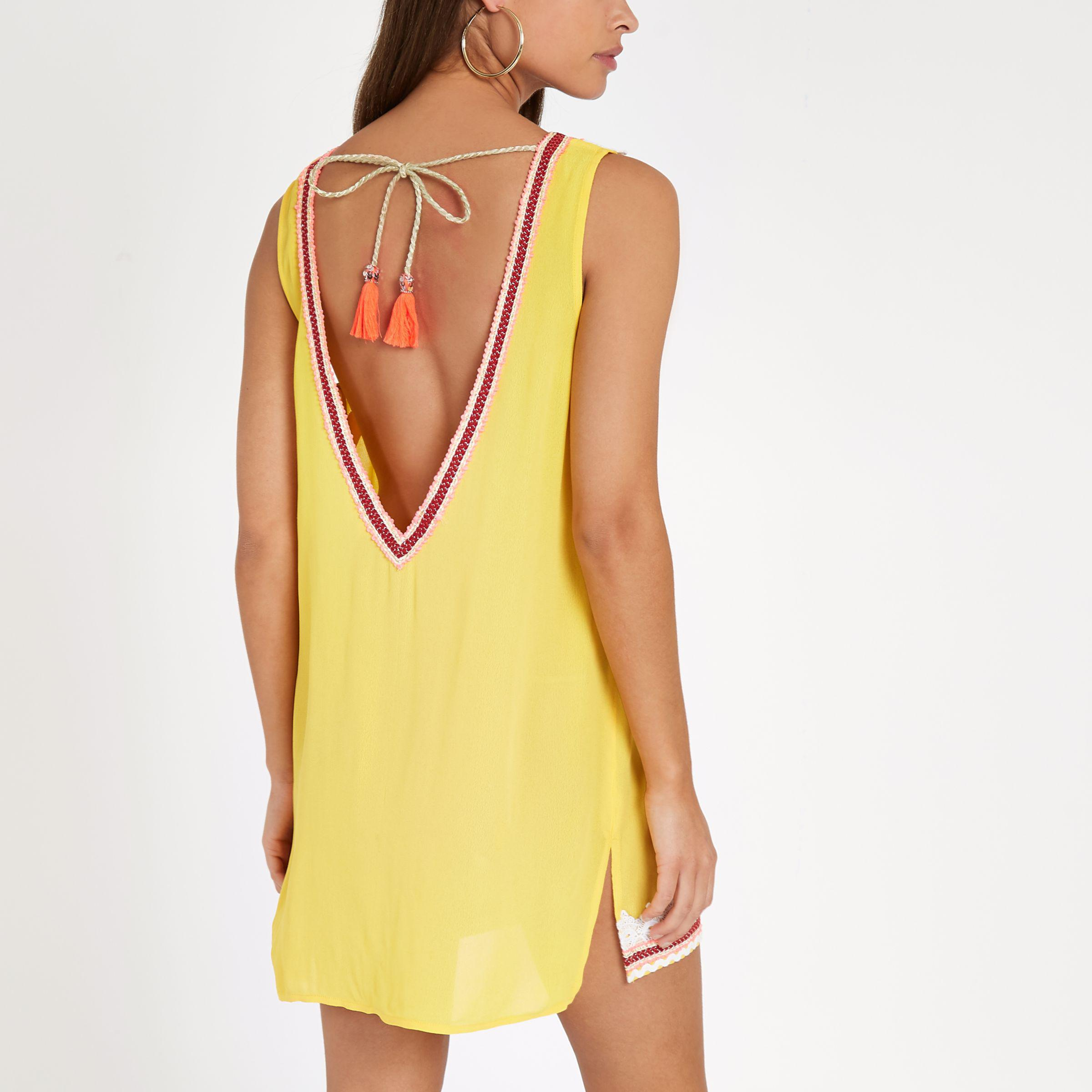 Lyst River Island Yellow Scallop Lace Mini Beach Dress In