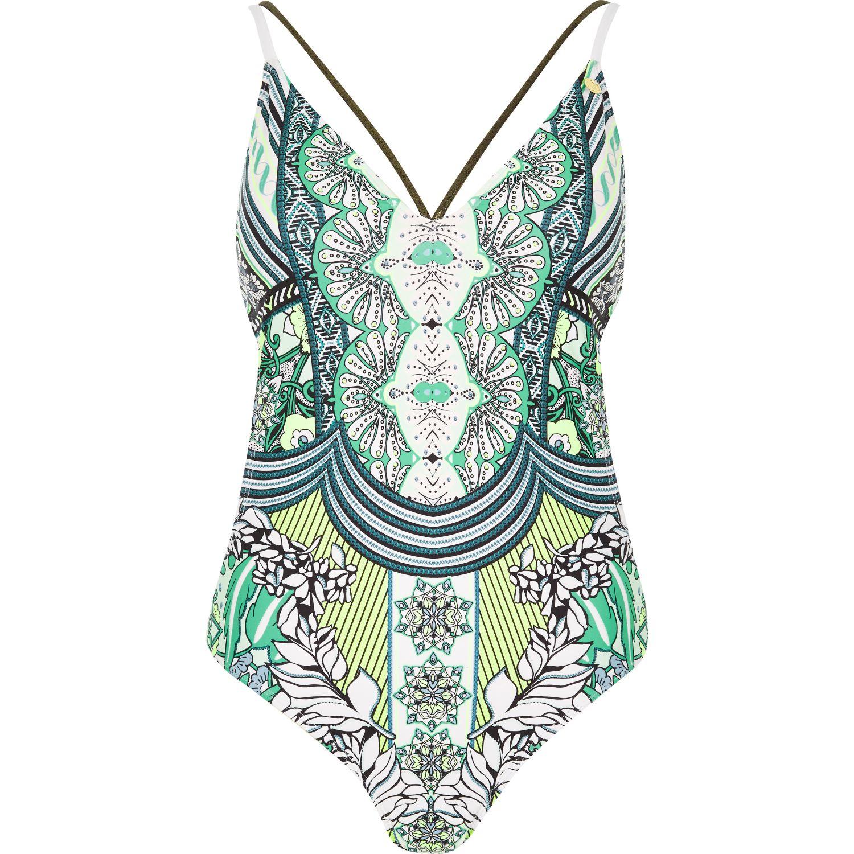 f46ced3255623 River Island Ri Resort Green Print Swimsuit in Green - Lyst