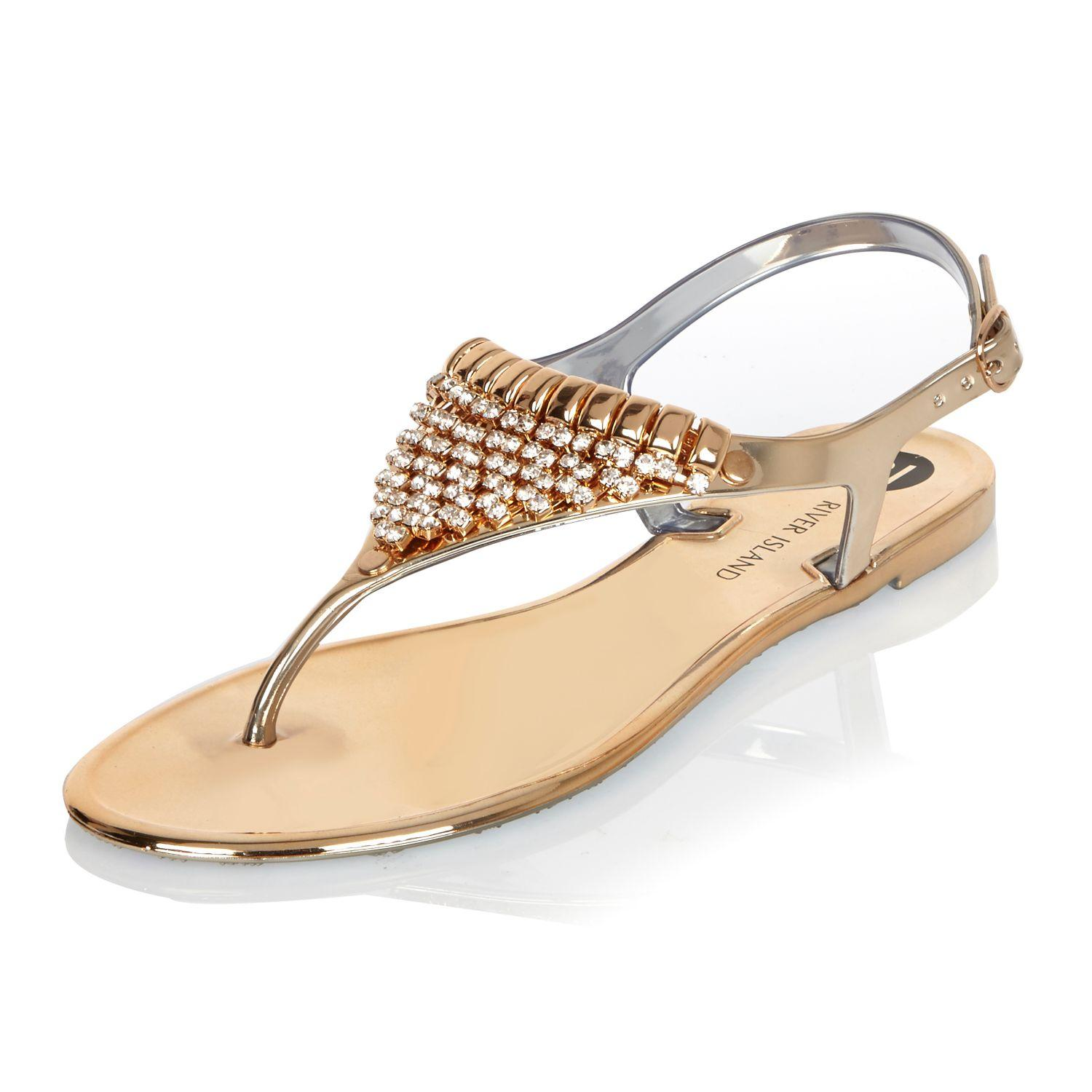 685b05b3396 Lyst - River Island Gold Embellished Jelly Sandals in Metallic