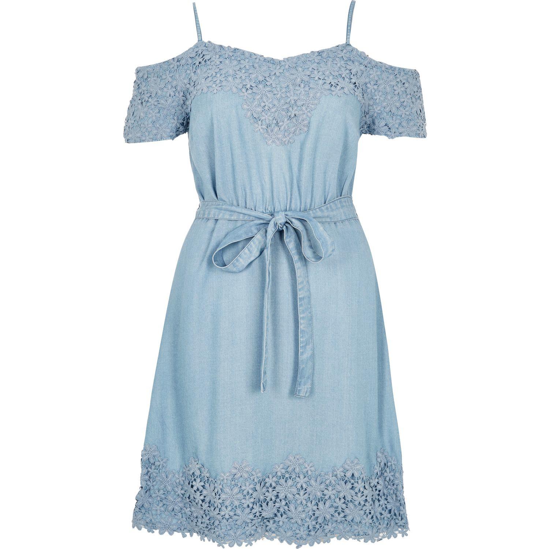 d61da44ed9de21 River Island Light Blue Denim Cold Shoulder Dress in Blue - Lyst