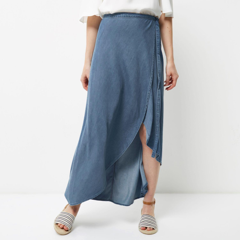 river island light blue wrap denim maxi skirt in blue lyst