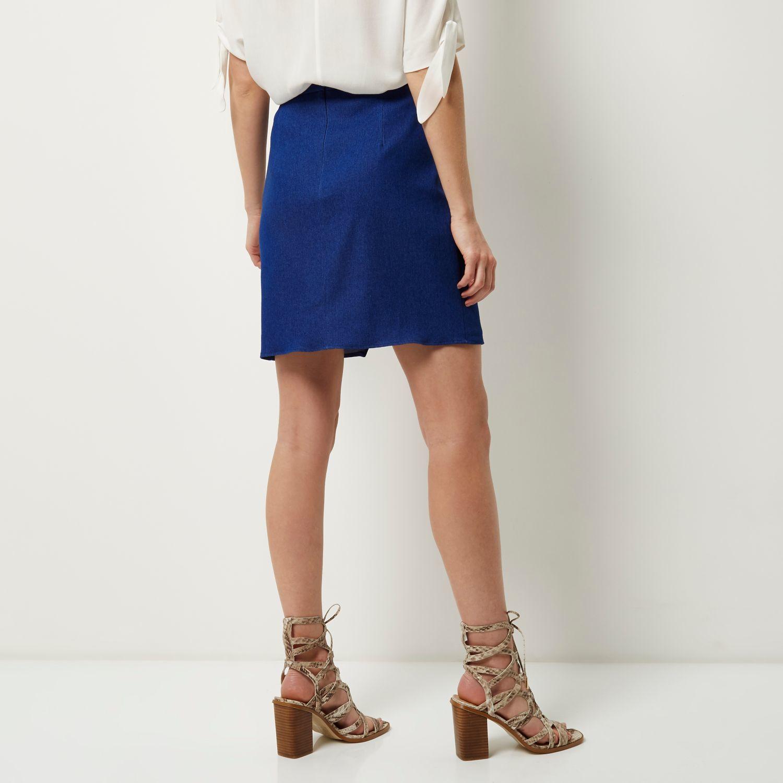 river island blue wrap denim skirt in blue lyst