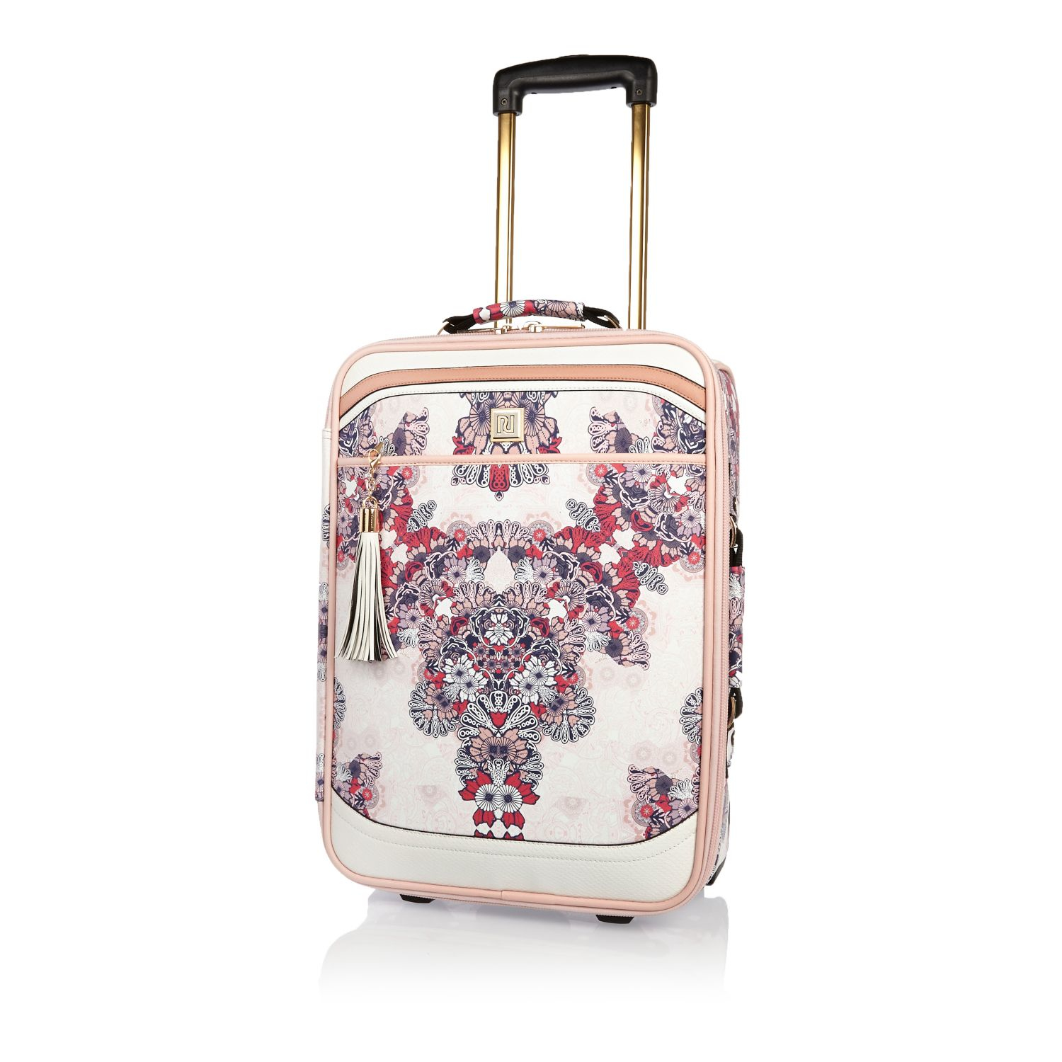 River island Pink Floral Suitcase in Pink | Lyst