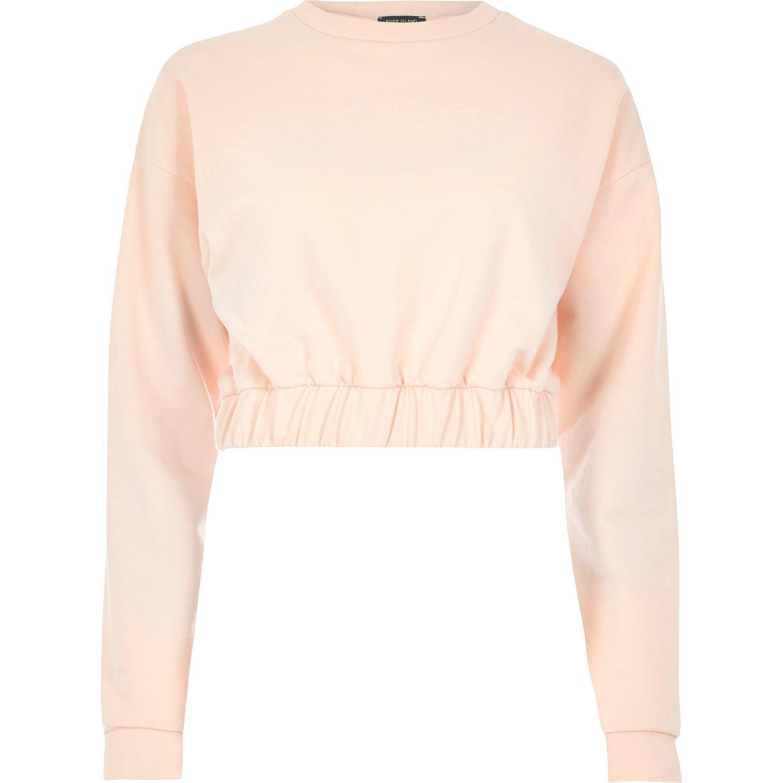 c630ec2fc5e River Island Light Orange Stretch Hem Cropped Sweatshirt in Black - Lyst