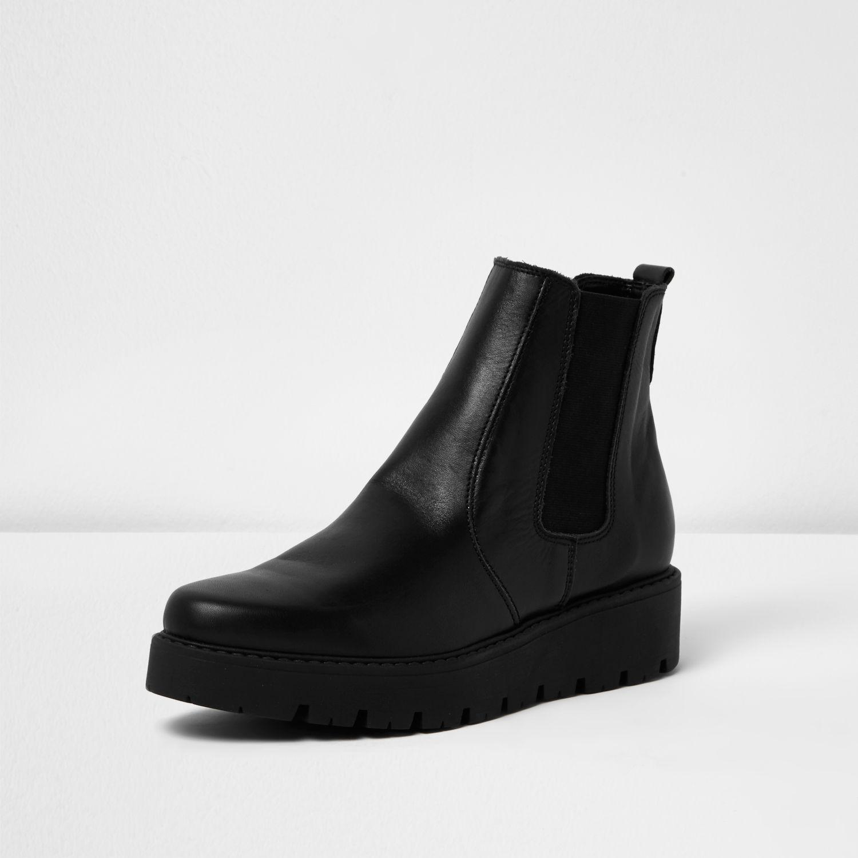 River Island Black Leather Platform Chelsea Boots In Black