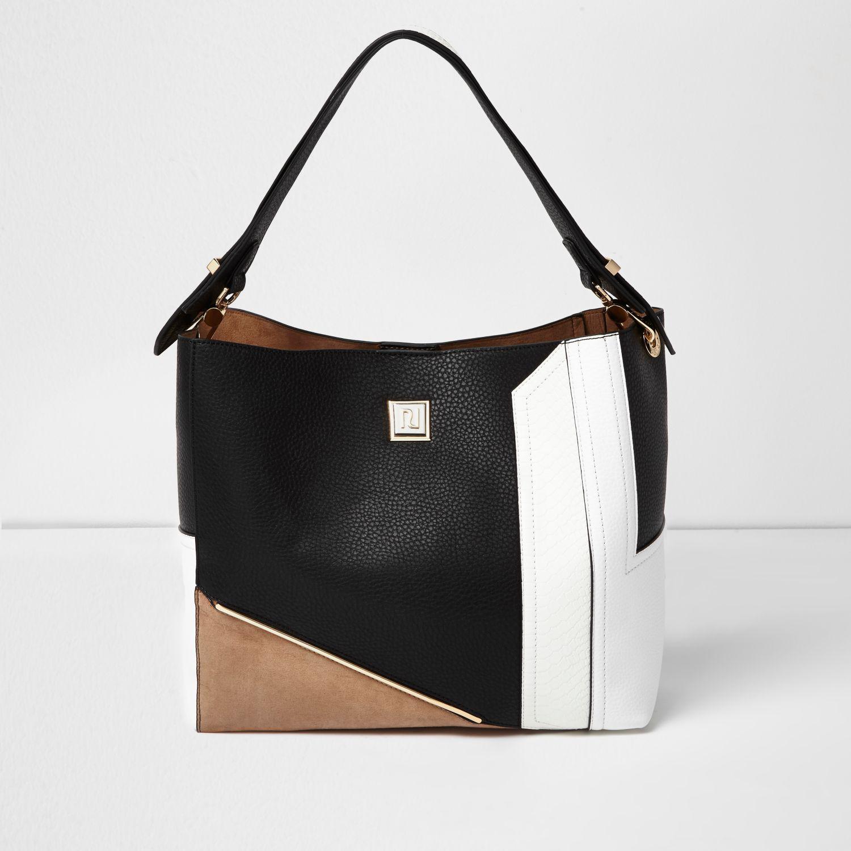 Lyst - River Island Black Colour Block Slouch Bag in Black 0cddc797e0
