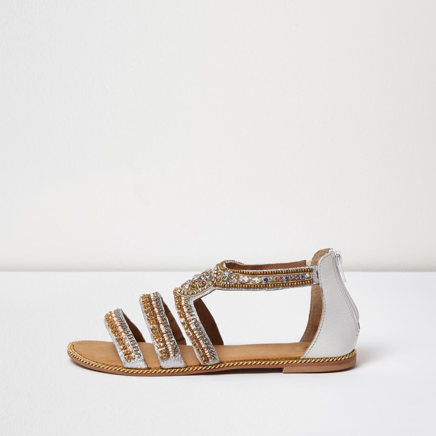 White Strappy Wedges River Island