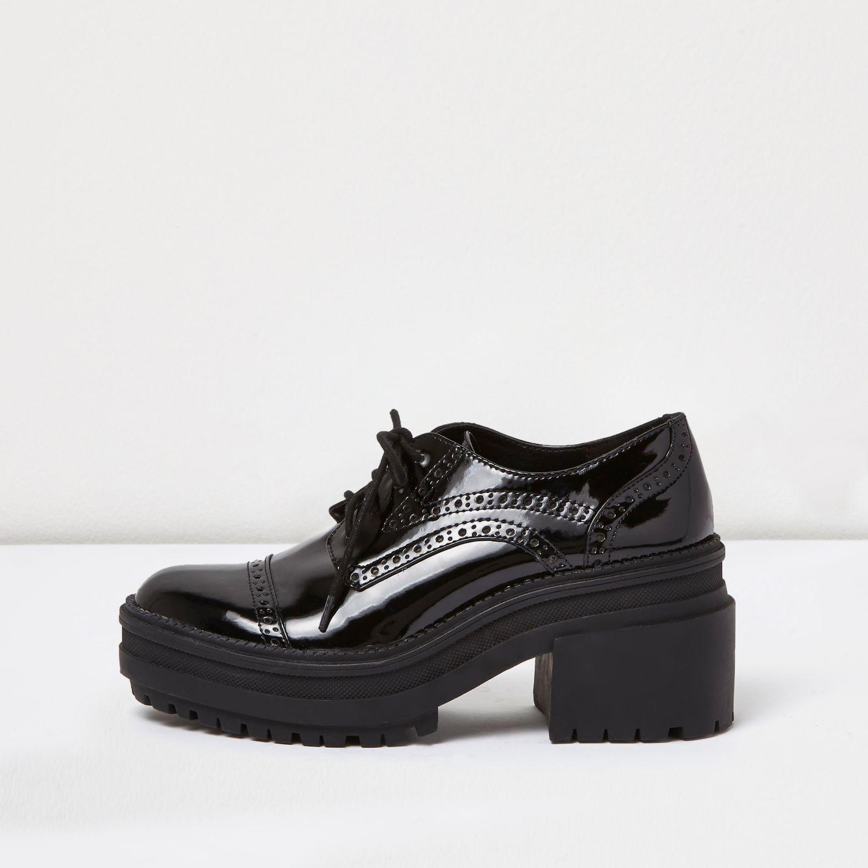 ef2834cd068 Lyst - River Island Black Patent Chunky Heel Brogues in Black
