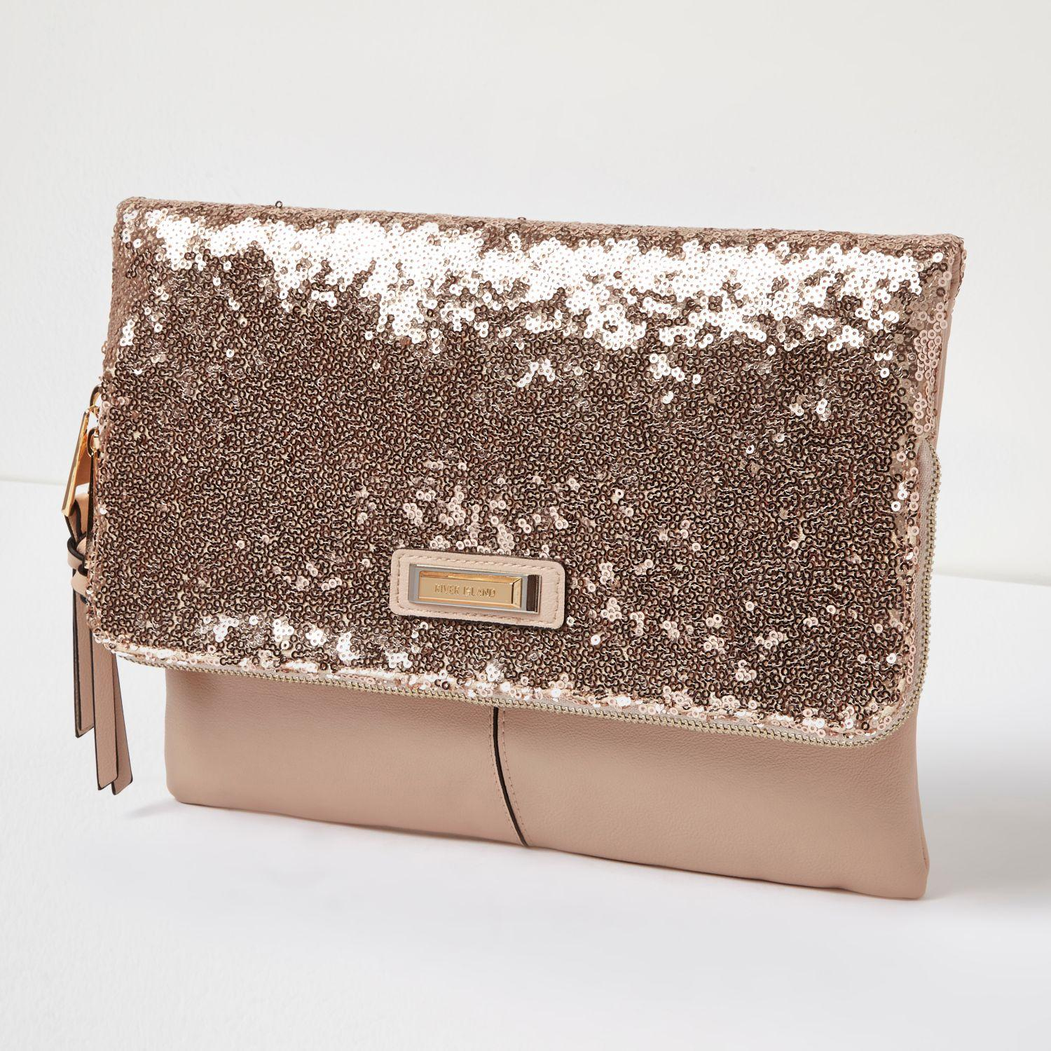 River Island Rose Gold Sequin Fold Over Clutch Bag - Lyst ef68cd76d
