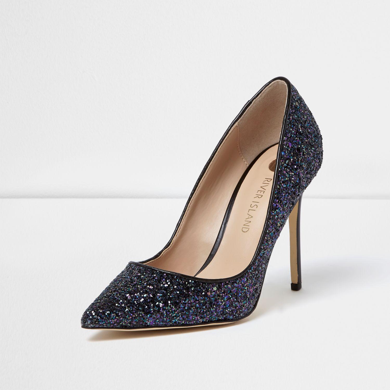 Womens Blue glitter court shoes River Island AHuOgf