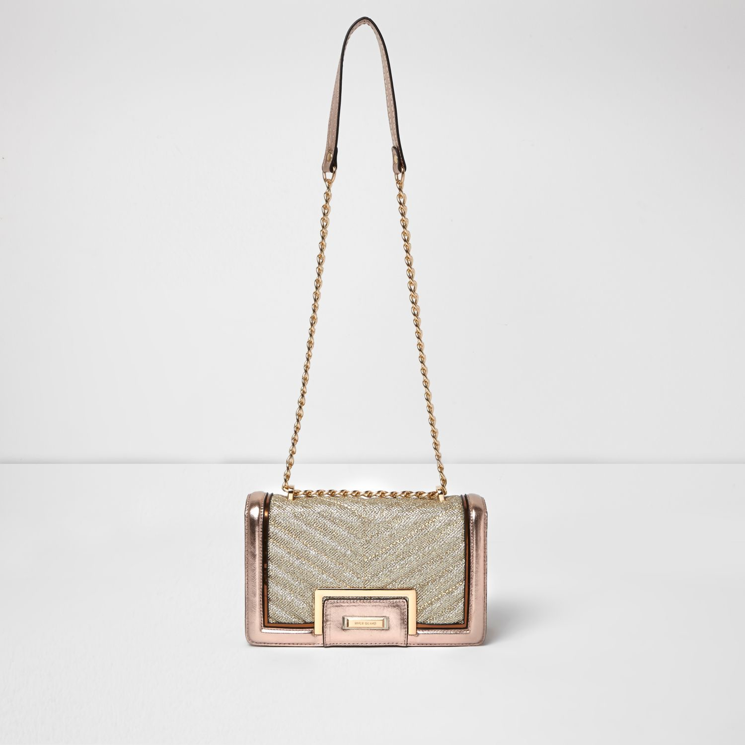 Lyst - River Island Rose Gold Quilted Panel Chain Shoulder Bag