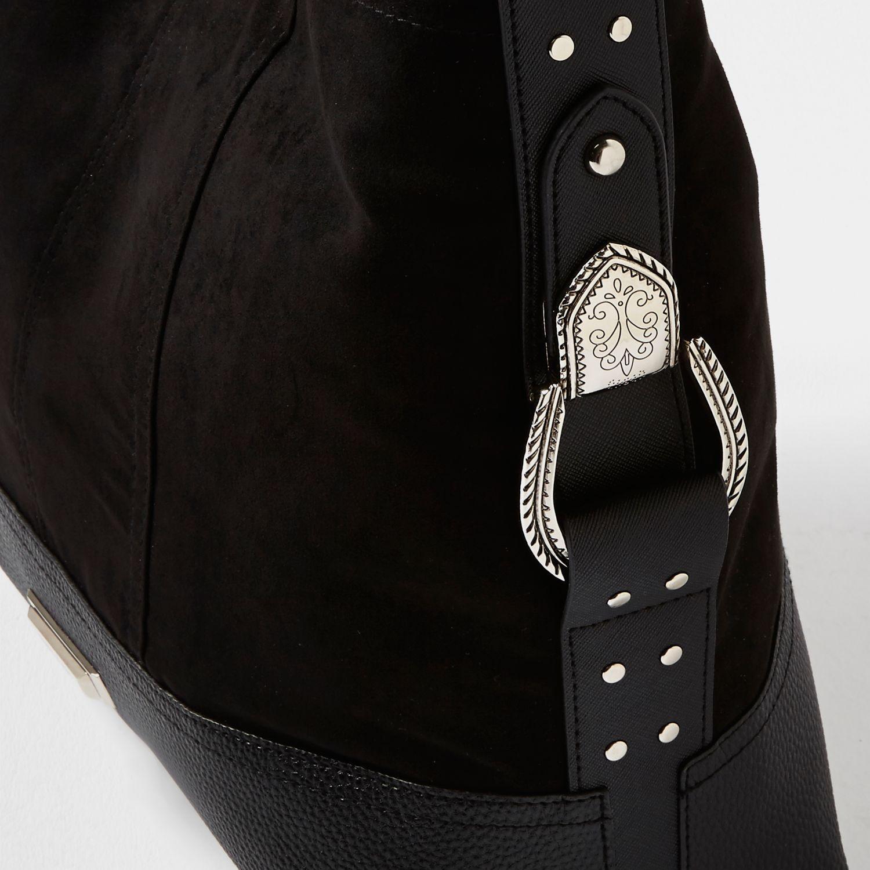 Lyst River Island Black Panel Western Slouch Bag In Black