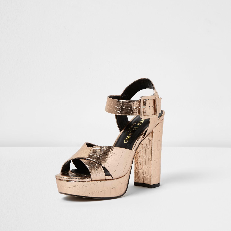 8b04c662bd7 Lyst - River Island Rose Gold Wide Fit Platform Heel Sandals in Pink