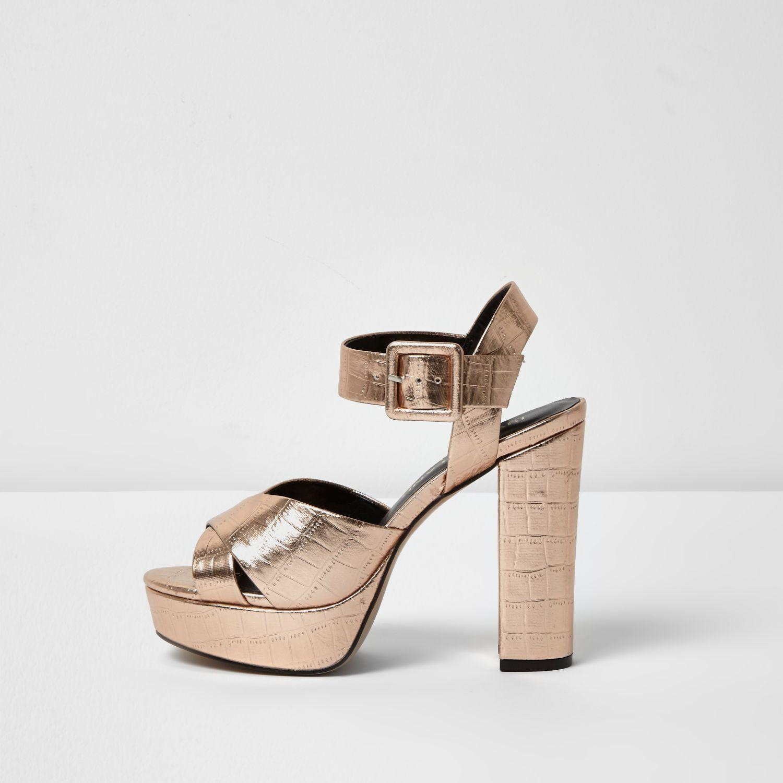 ce619de2945 Lyst - River Island Rose Gold Wide Fit Platform Heel Sandals in Pink