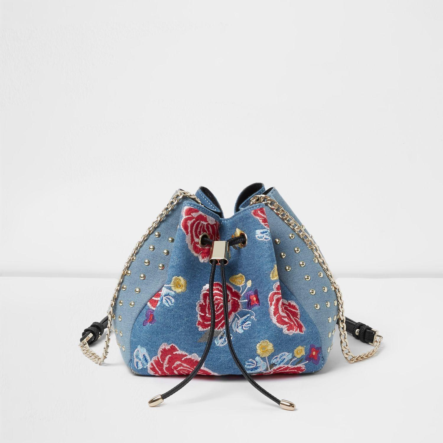 River Island Blue Denim Floral Embroidered Duffle Bag In Blue | Lyst