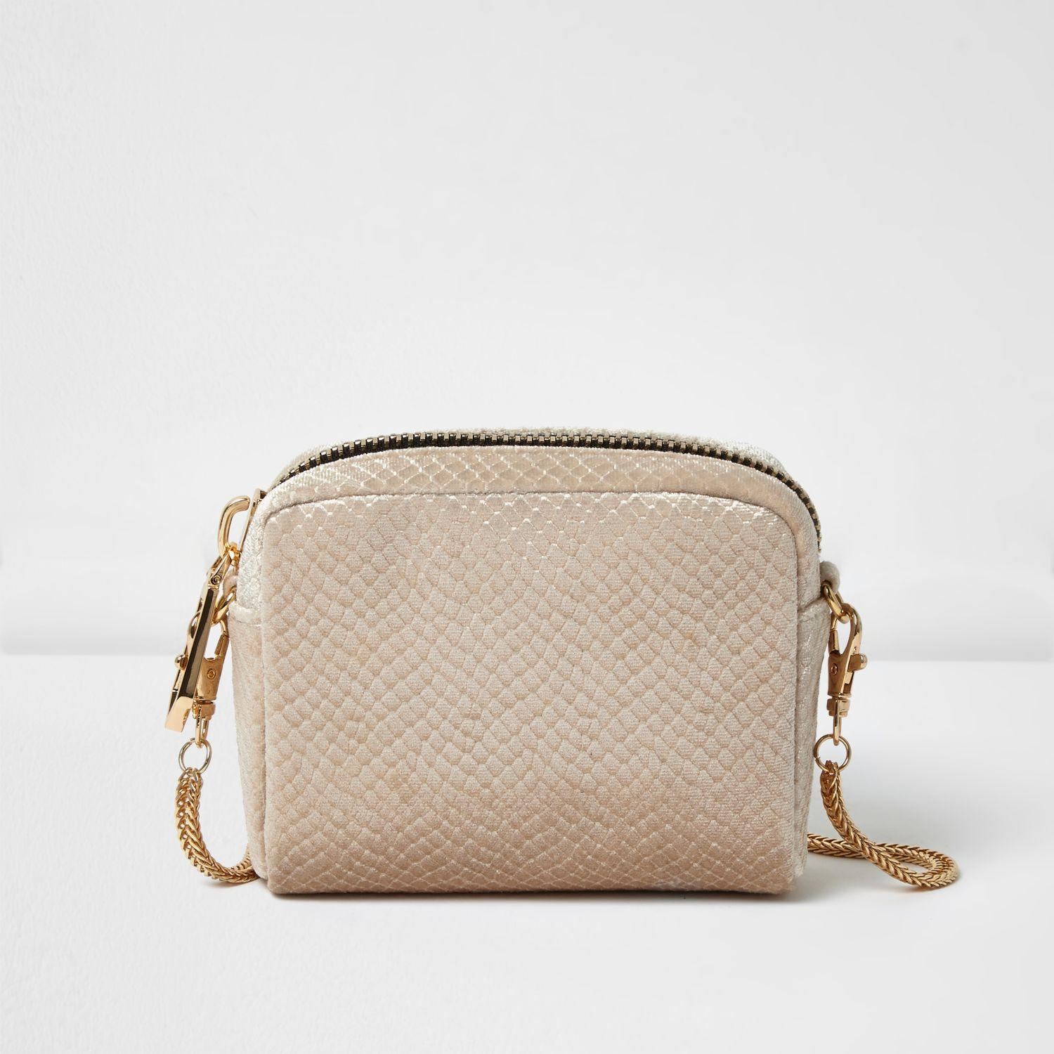 River Island Cross Body Bags Clutch Natural Nude Velvet Mini Bag In Lyst