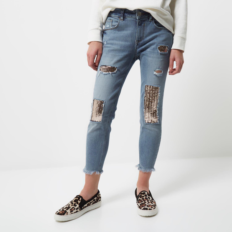 Buy Cheap View Shop For Womens Mid Blue Harper sequin detail skinny jeans River Island Sale Explore qotDw