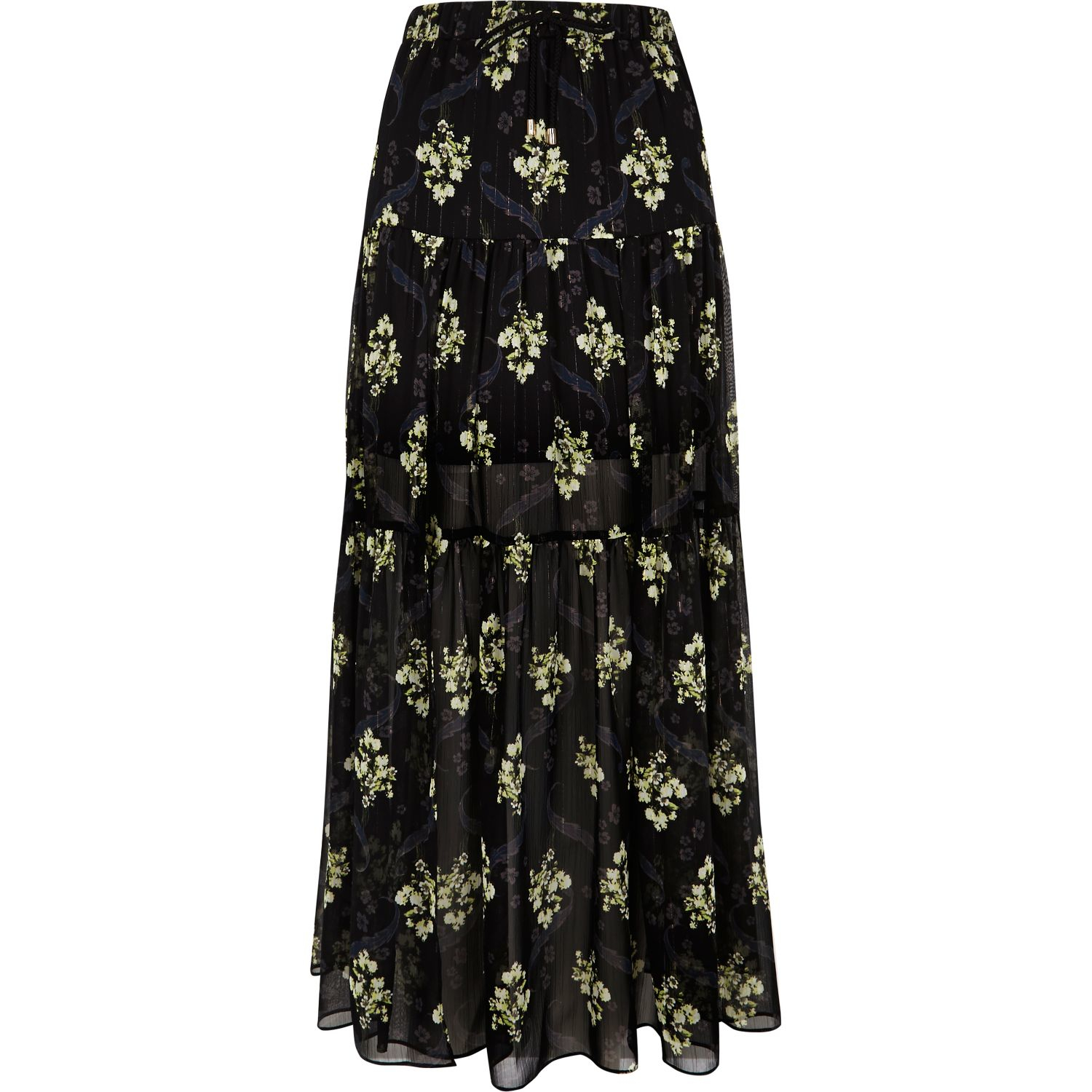 river island black floral print tiered maxi skirt in black