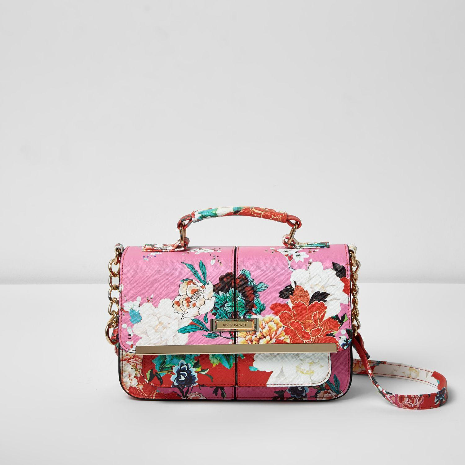 3b03dd419e Lyst - River Island Pink Floral Print Mini Satchel Bag in Pink